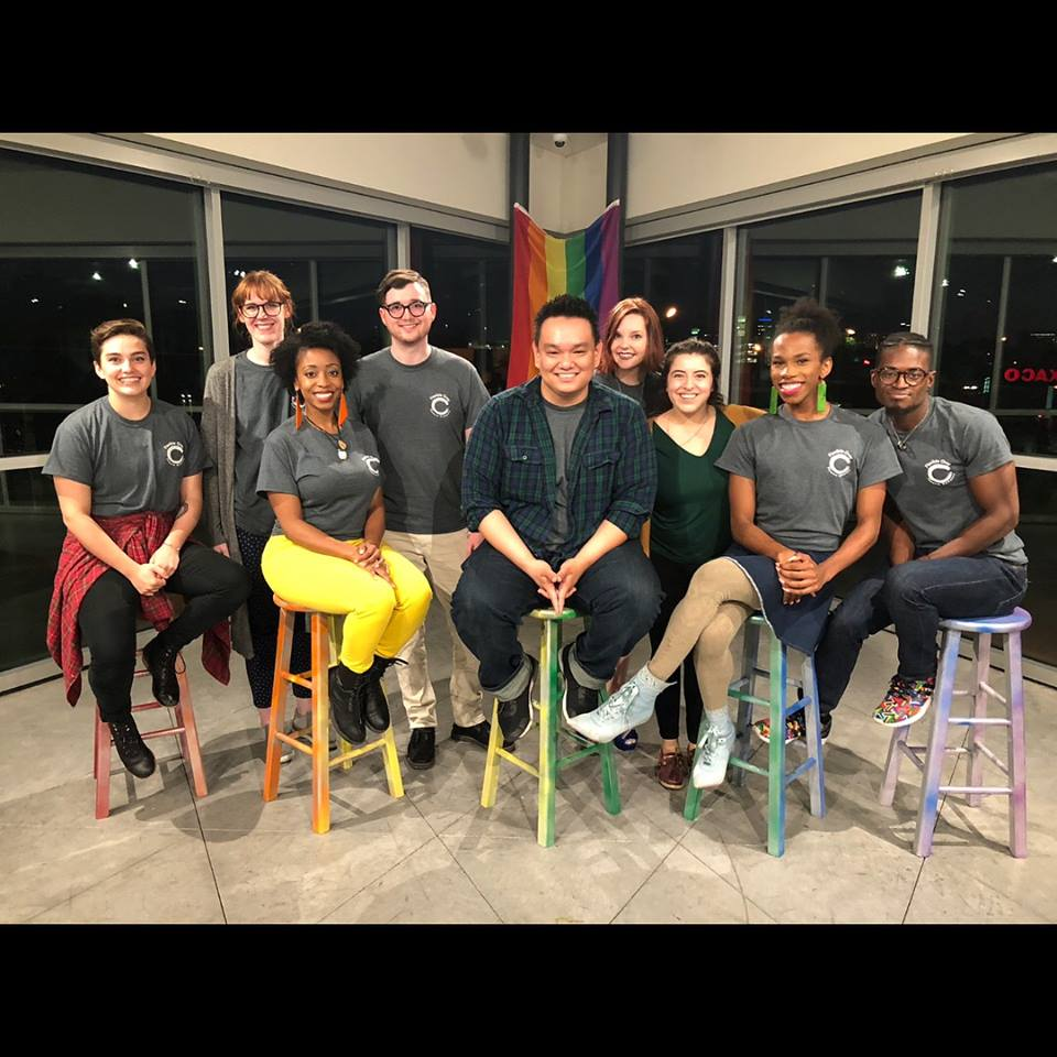 The cast and creative team of Bridges: LGBTQ+ Then & Now at Resource Center of Dallas - May of 2018