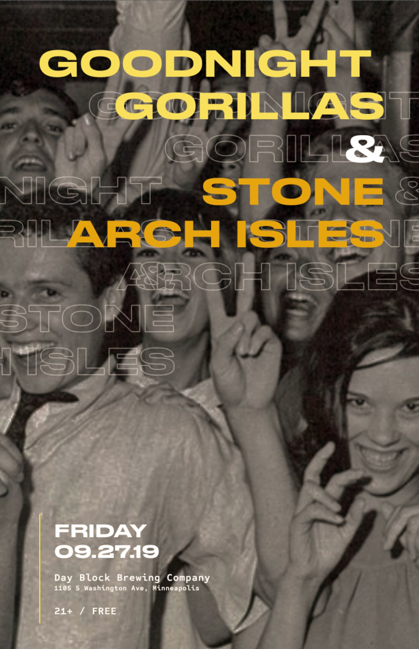 Goodnight Gorillas & Stone Arch Isles - Friday, Sept. 27 • Day Block Brewing • 9pm • FREE!EVENT PAGE