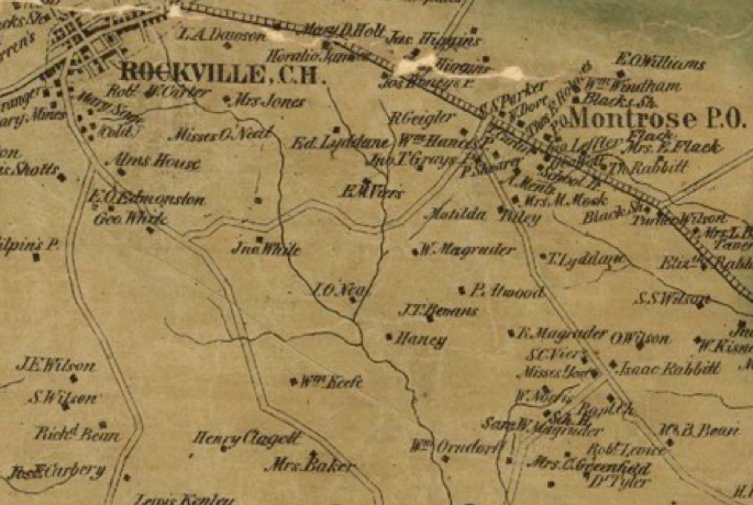 Detail from 1865 Martenet and Bond Map of Montgomery County - the Matilda Riley house is labeled on Old Georgetown Road, southwest of Montrose P.O. [MB]