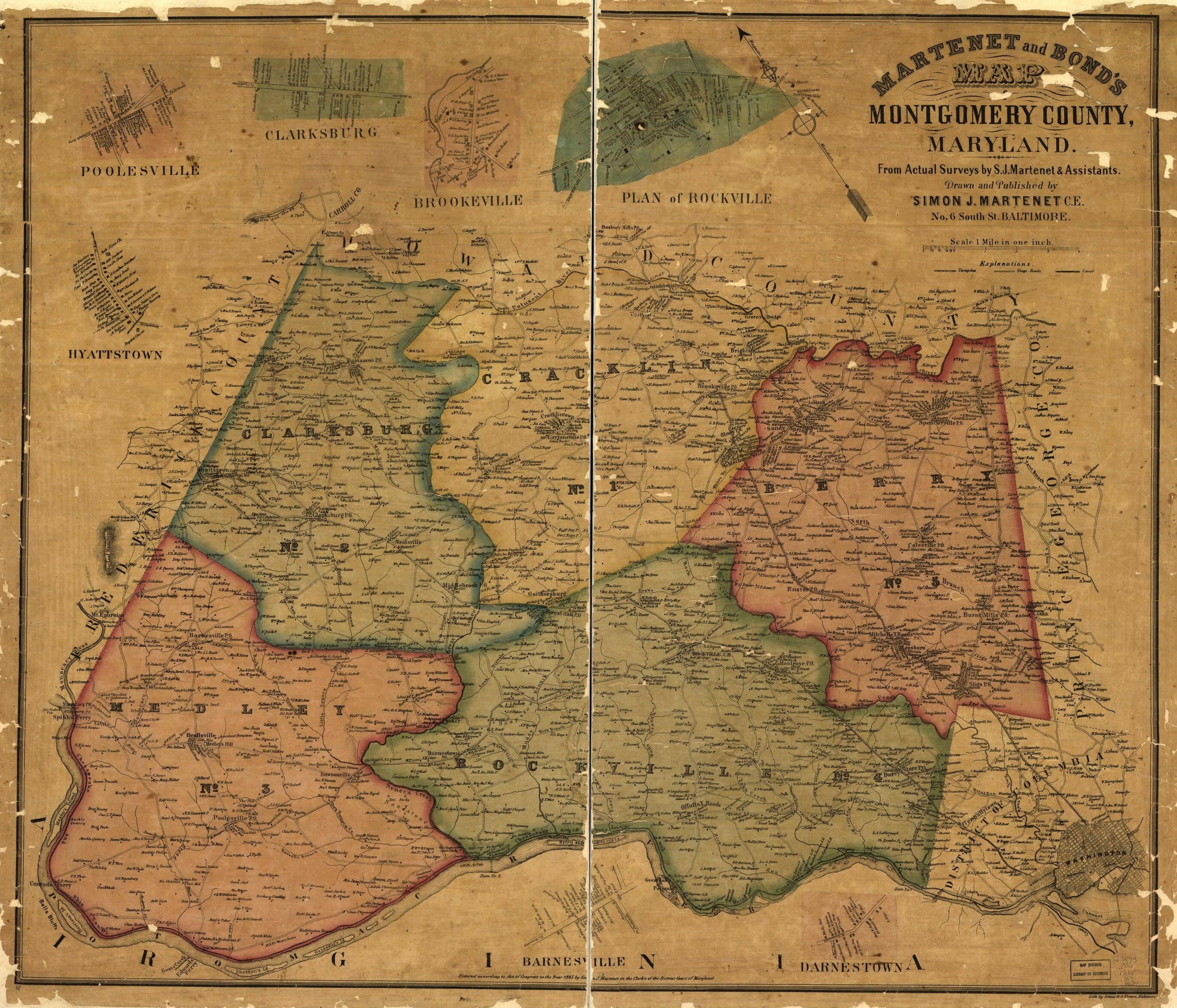 1865 Martenet and Bond Map of Montgomery County [MB].