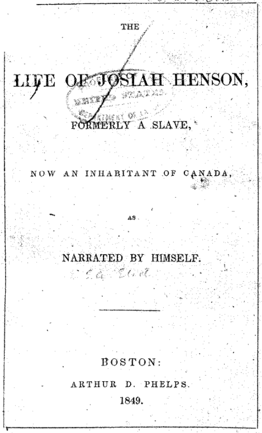 Title Page of Henson's Autobiography (1849) (Library of Congress)