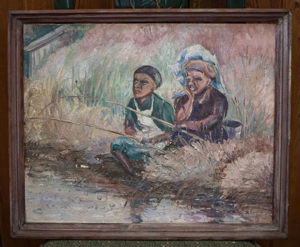 "Ladies Fishing (Mattamuskeet), 20""x 16"", oil, $300"