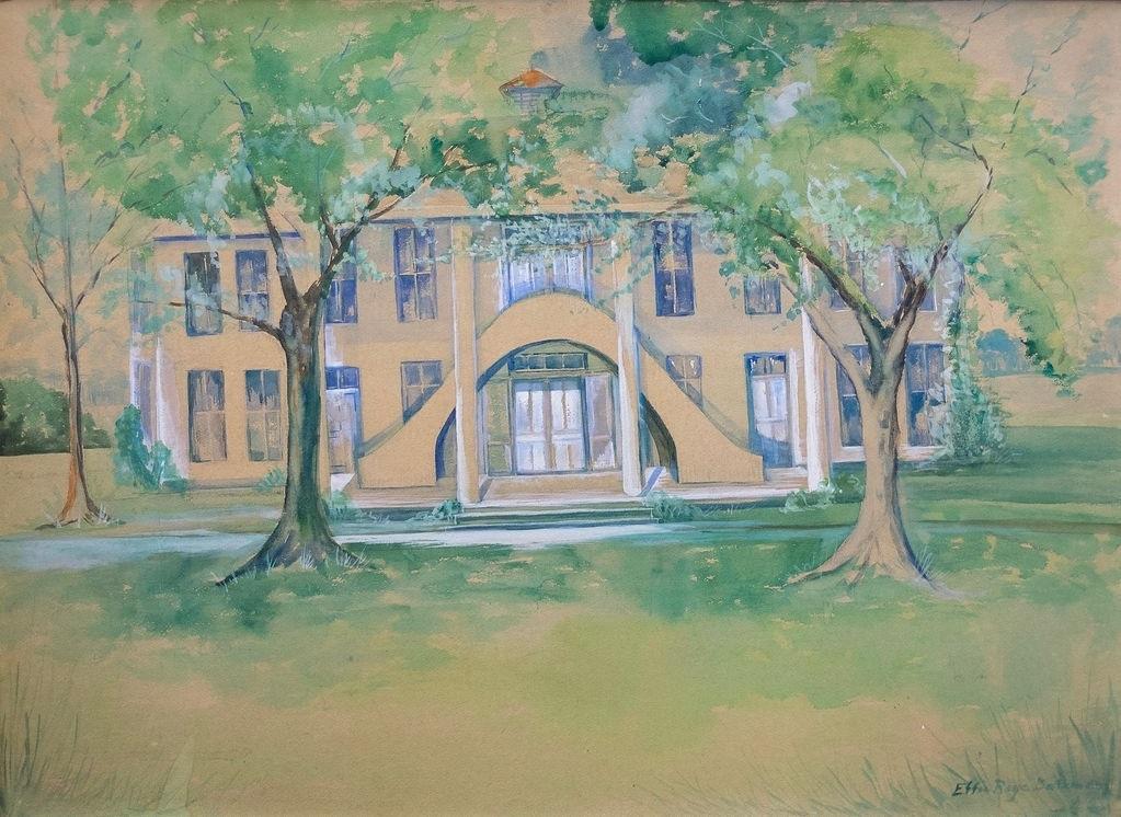 "Pantego Old Academy, 30"" x 32"", watercolor, $400"