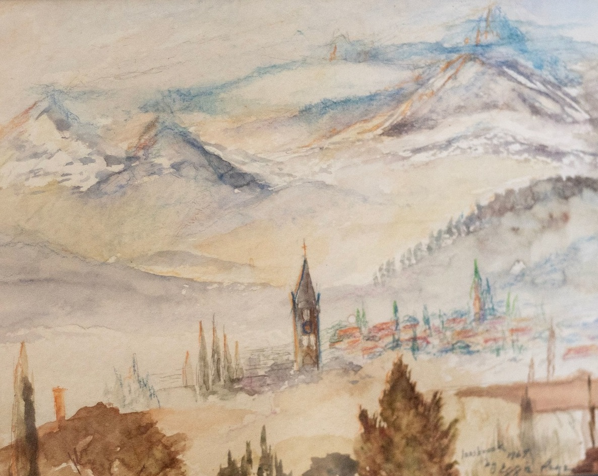 """Mountain at Innsbruck, 12""""x10"""", water color,  $200"""