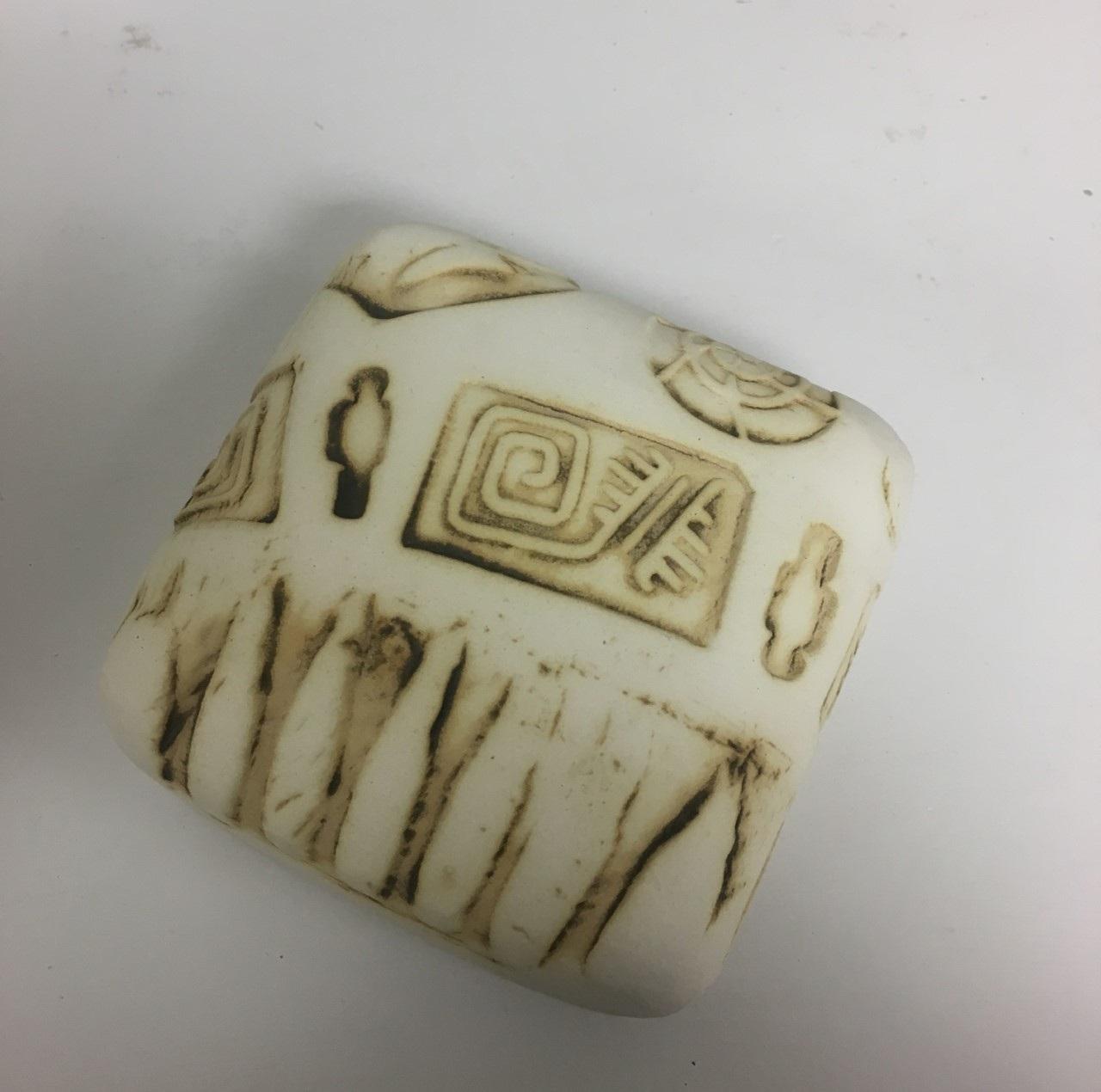 "Wall Box 1, 4""x 4"", Clay Sculpture, $50"
