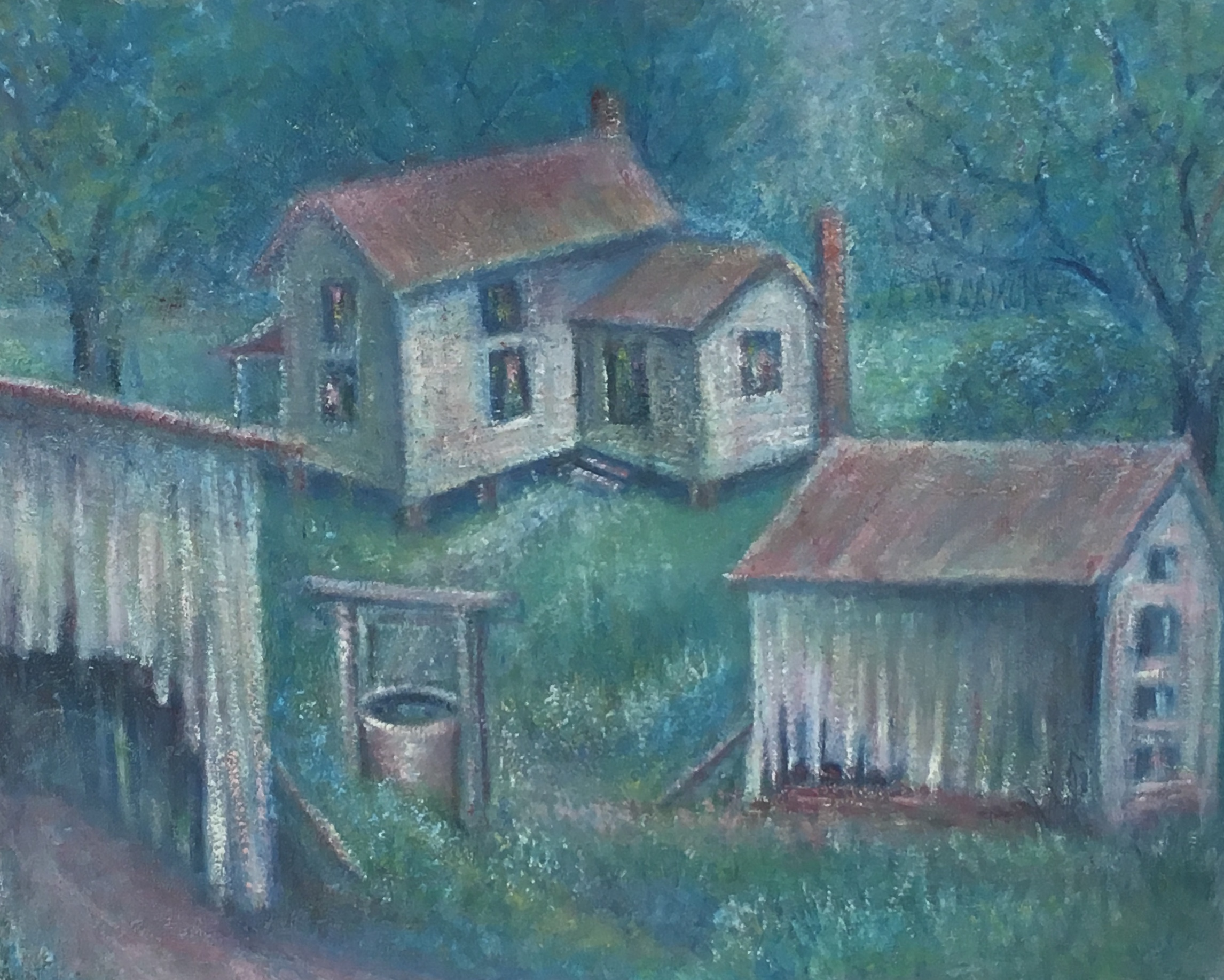"""House on Terrapin Road, 16"""" x 20"""", oil, $250"""