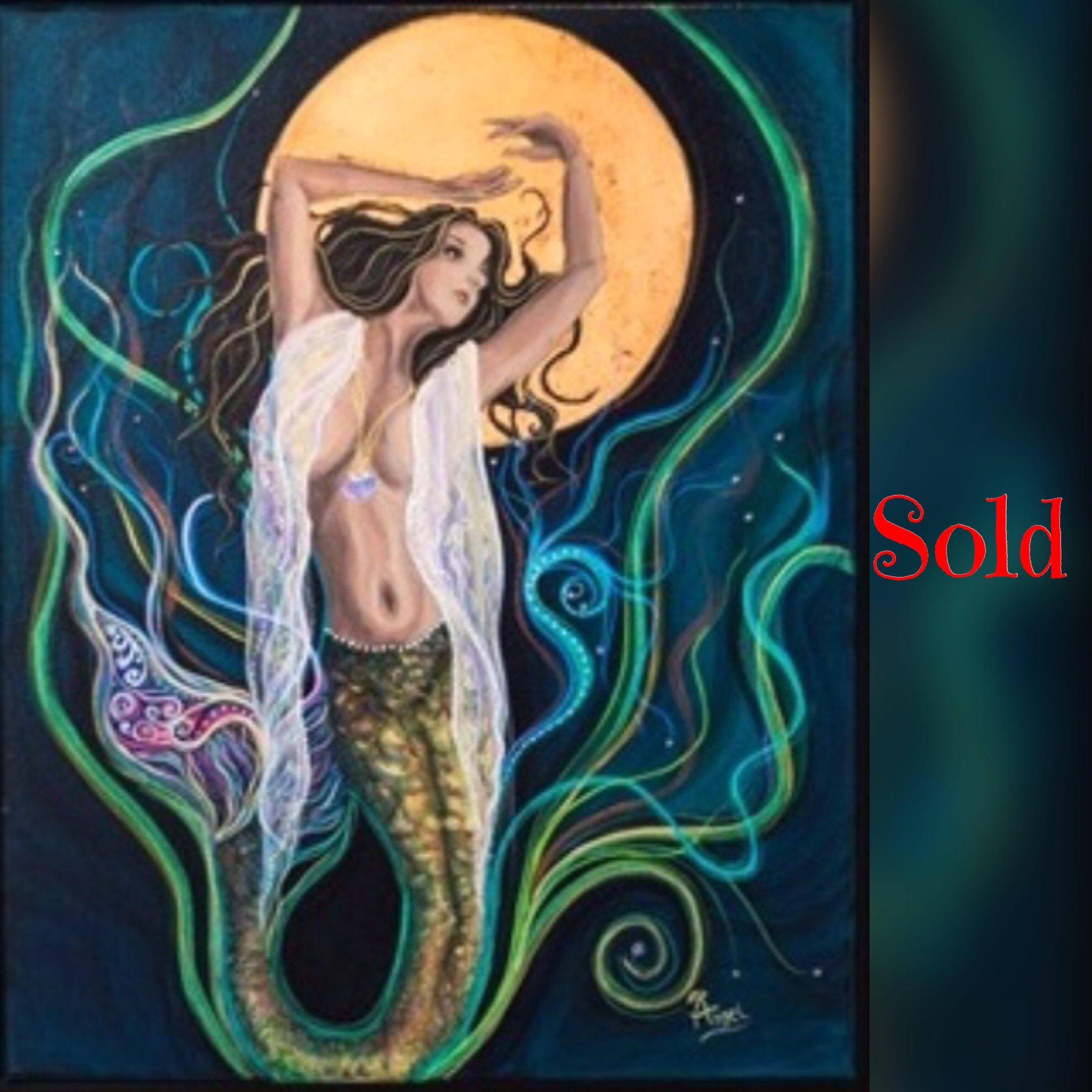 "Blood Moon Goddess, 16""x20"", acrylic, SOLD"