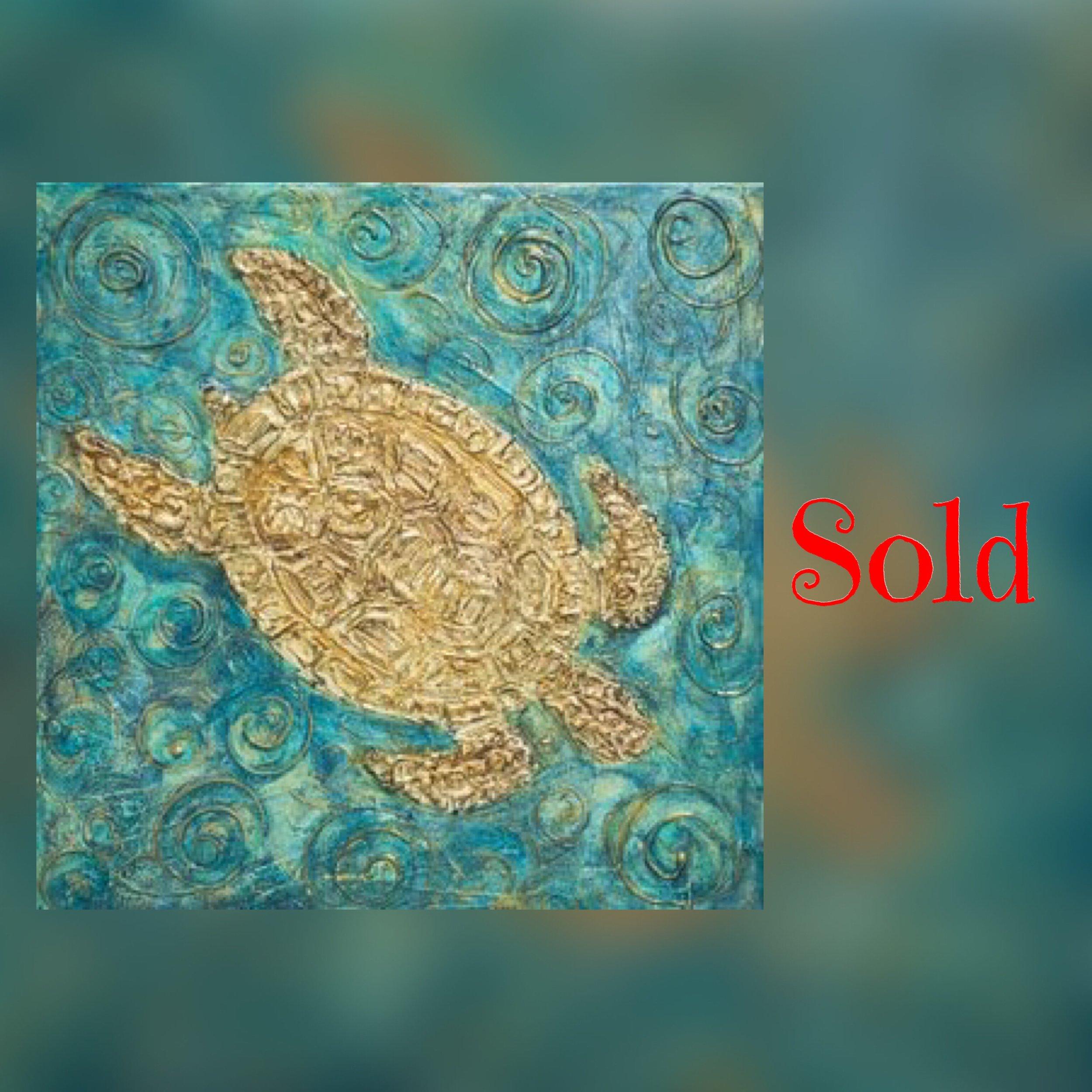 "Sea Turtle, 16""x16"", mixed media, SOLD"