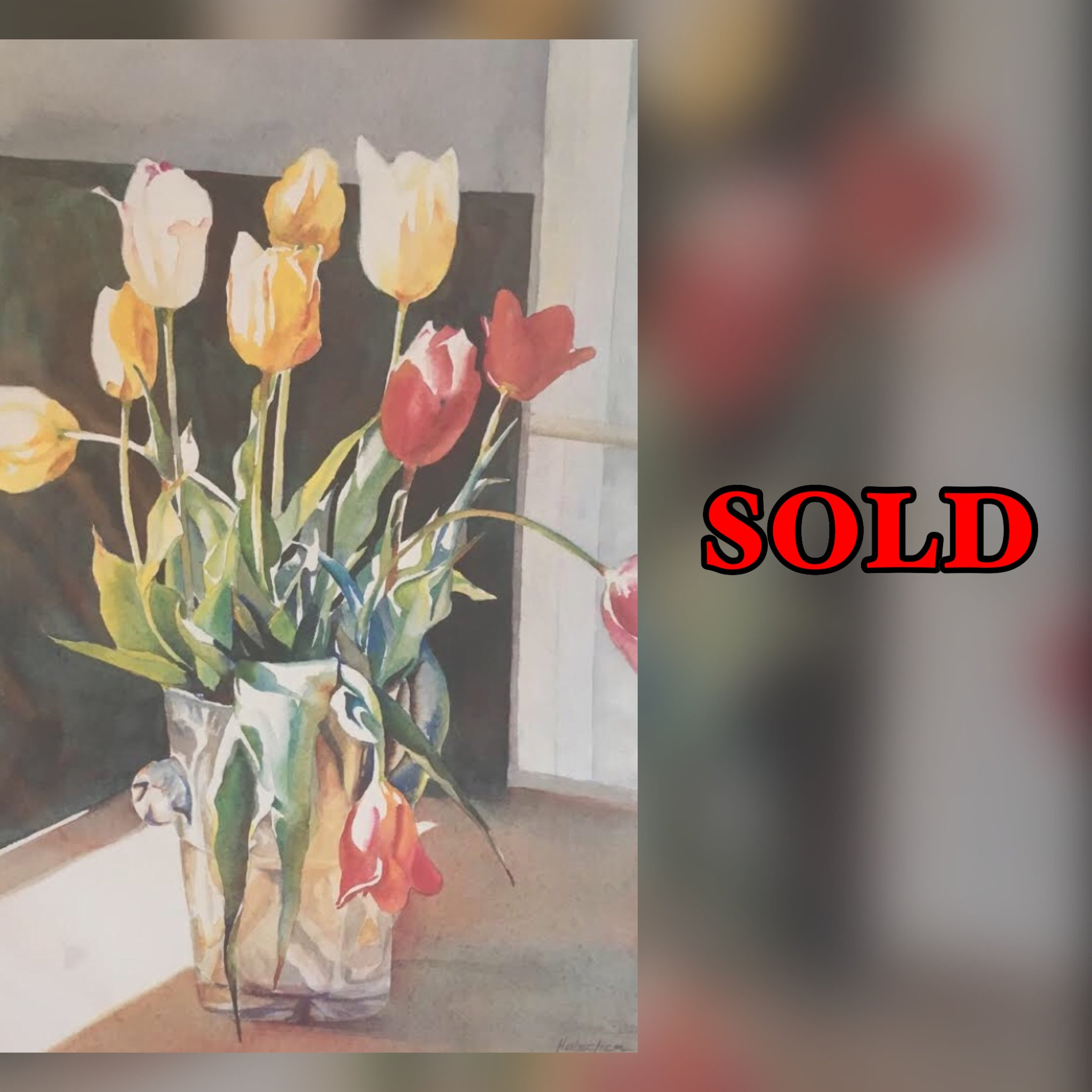 """Crystal Tulips, 16"""" x 23"""", Watercolor (Print), SOLD"""