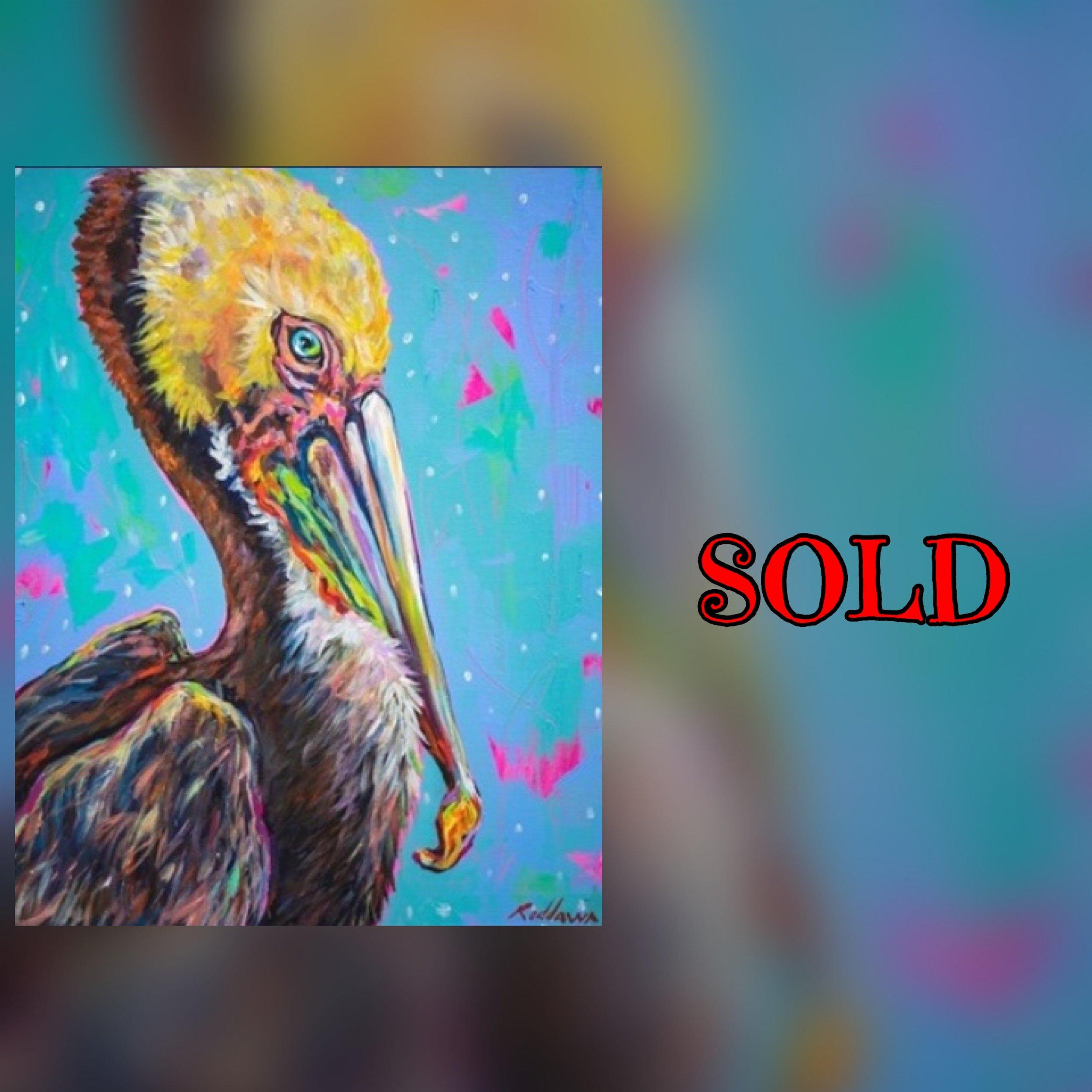 "Bright Eyes (Pelican), 16""x30"", acrylic, SOLD"