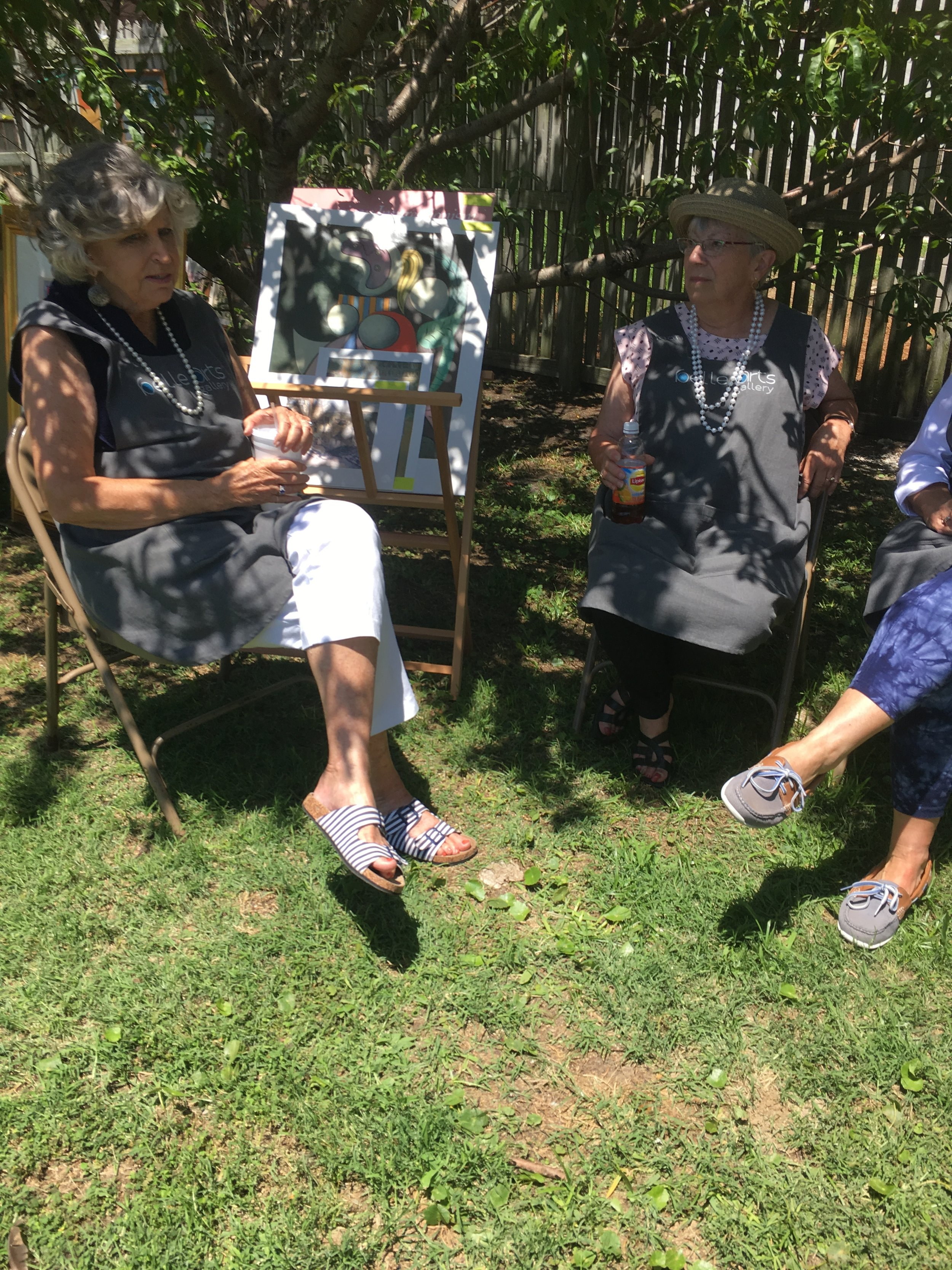 Father's Day Upcycle Event  Saturday, July 15, 2019  Sandy (belle) with Jean (belle)