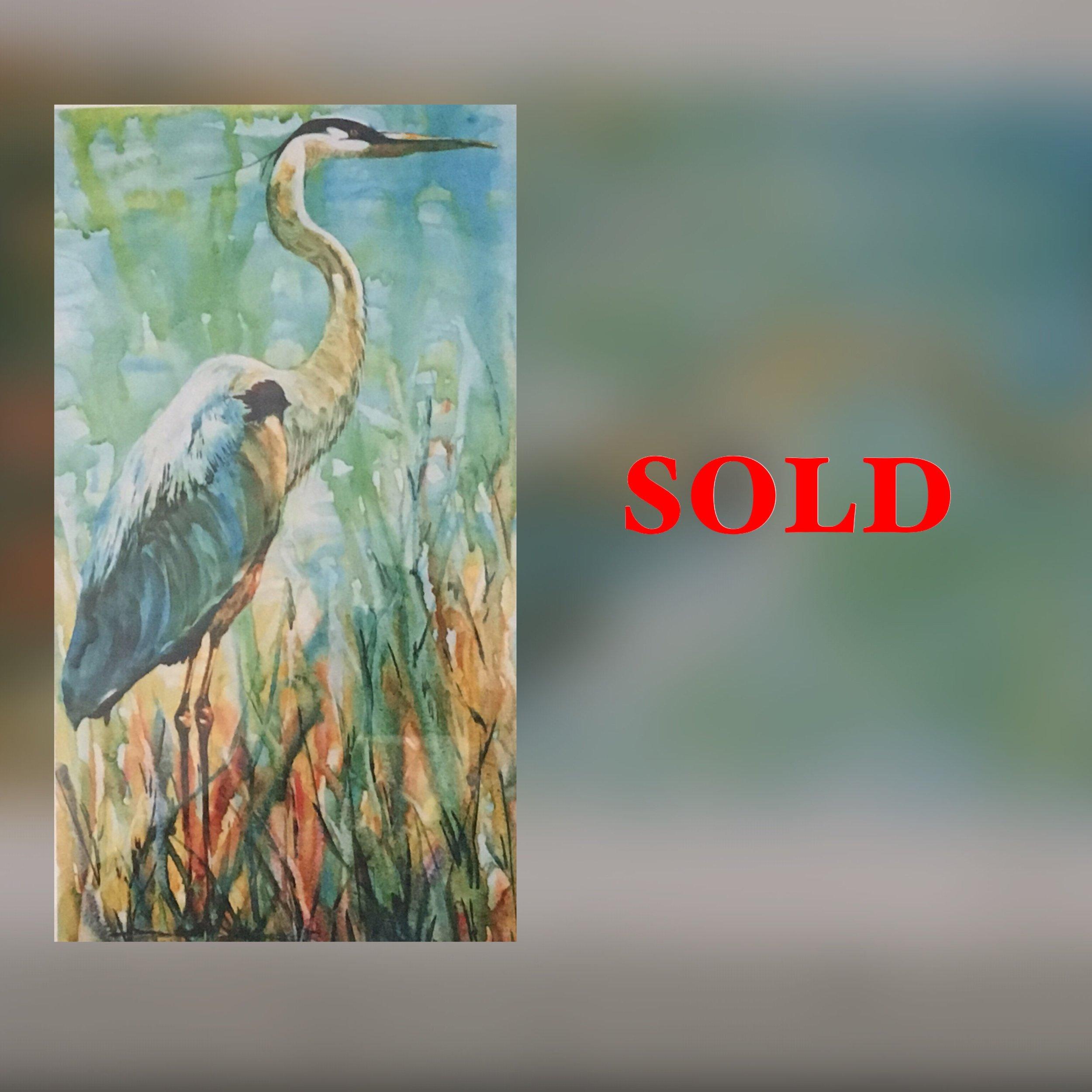 "Heron, 11"" x 17"", Print, SOLD"