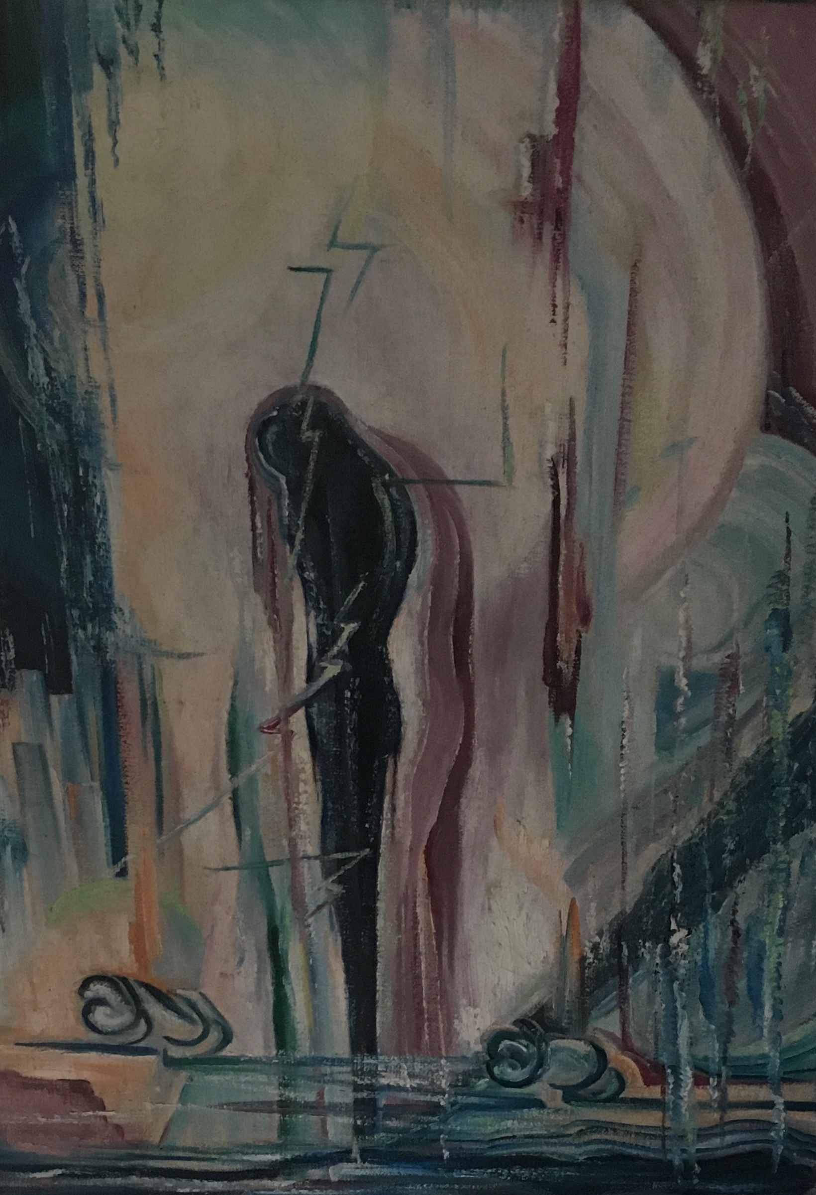 """Abstract Person #5, 24"""" x 30"""", oil, $475"""