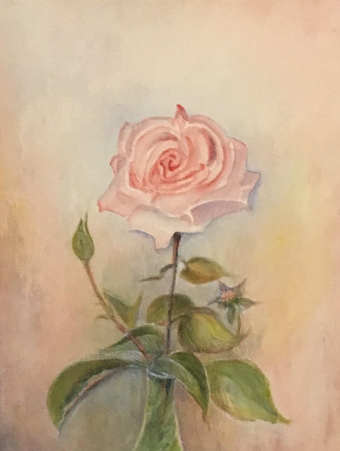 """Rose, 17"""" x 23"""", mixed medial, $125"""