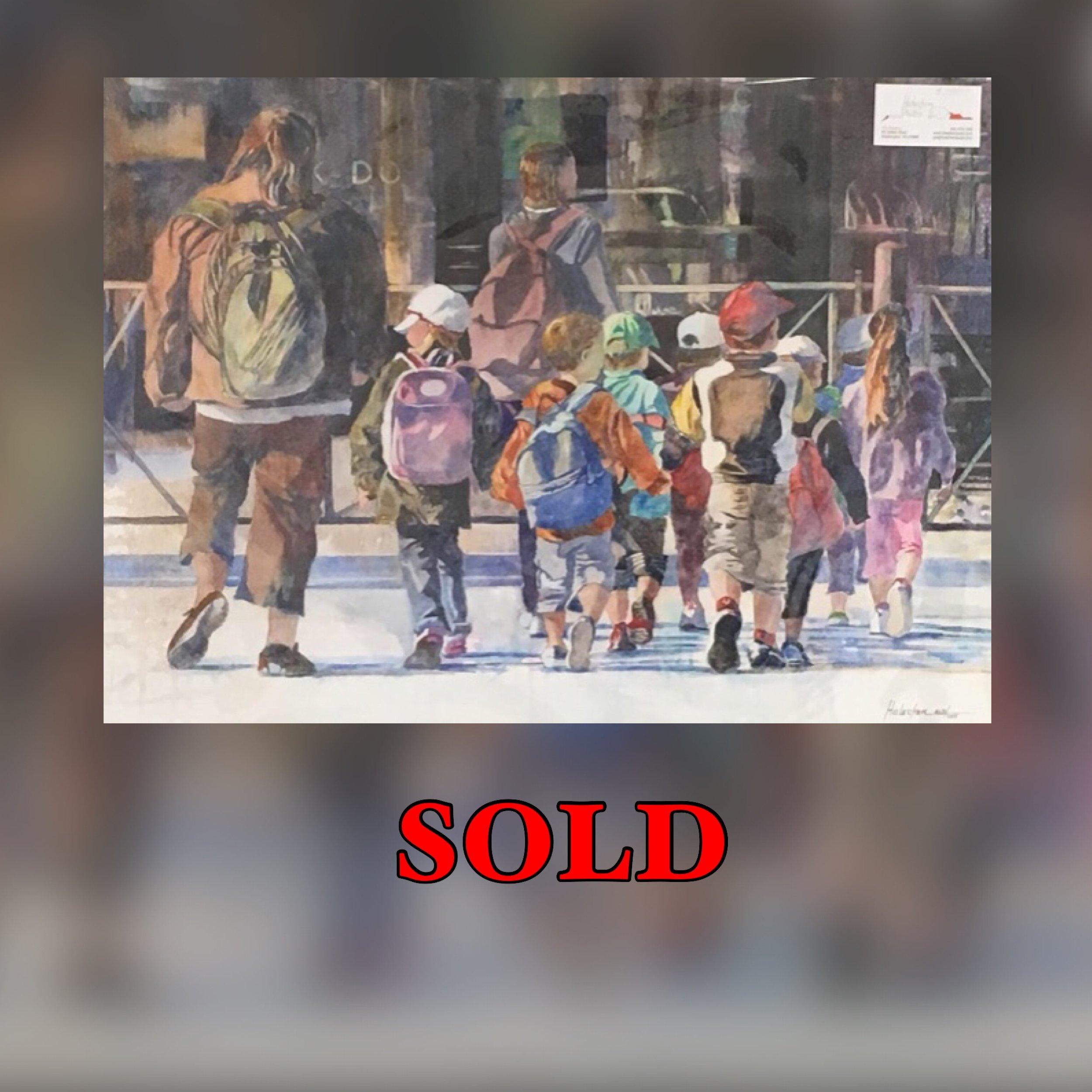 """School of Children, 30"""" x 22"""", Watercolor (Original), SOLD"""