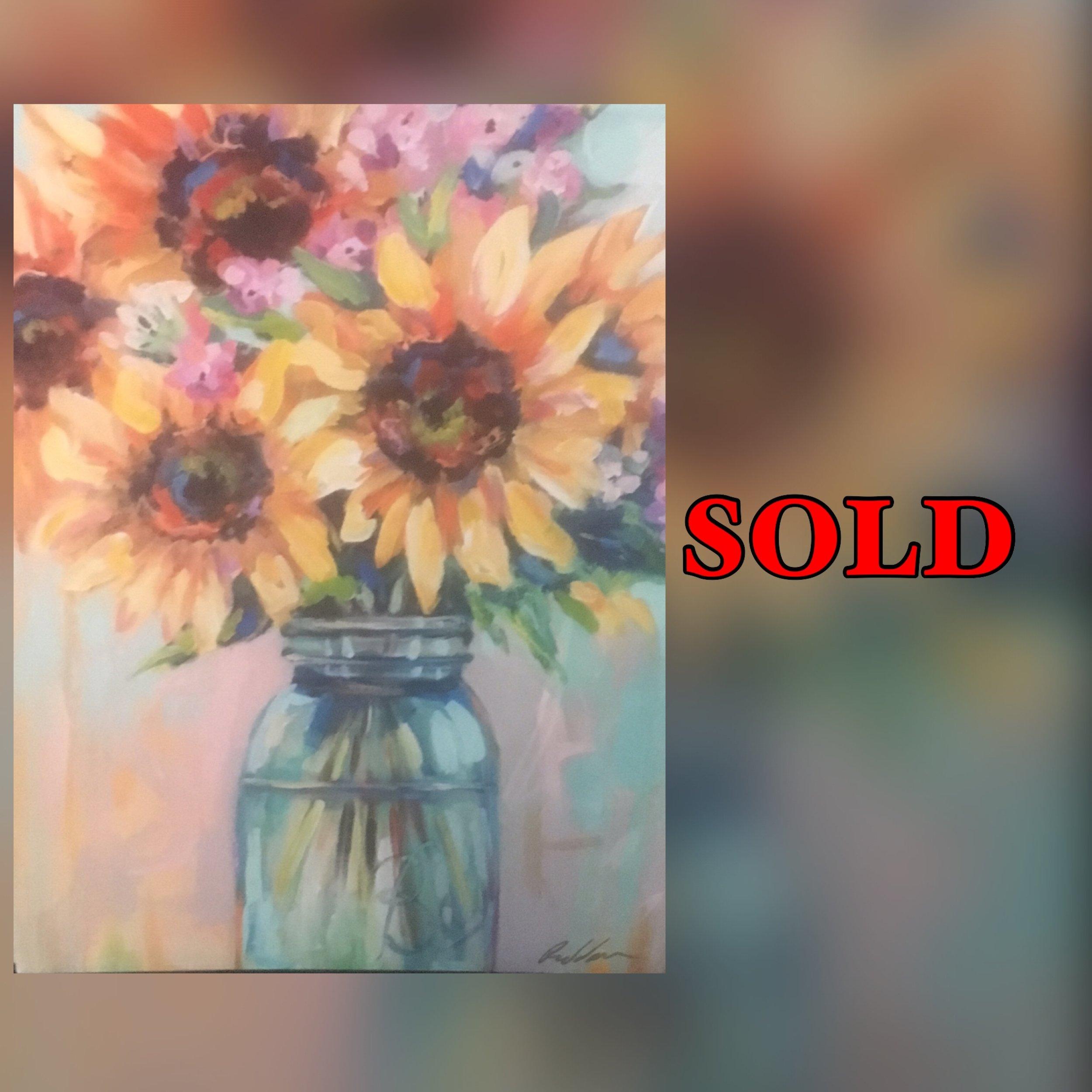 "Sunflowers, 11""x 14"", print, SOLD"
