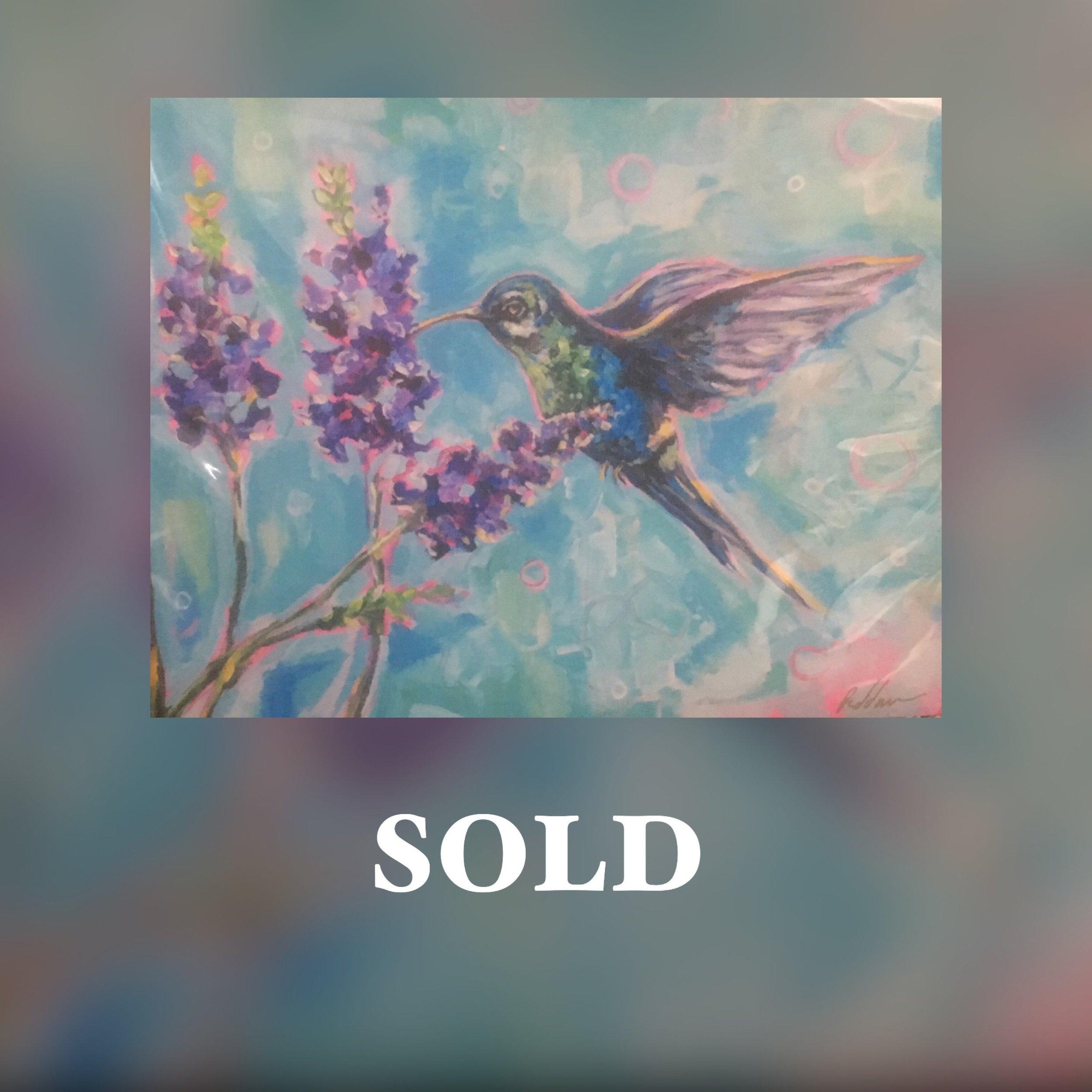 """Hummingbird, 11""""x 14"""", print, SOLD"""