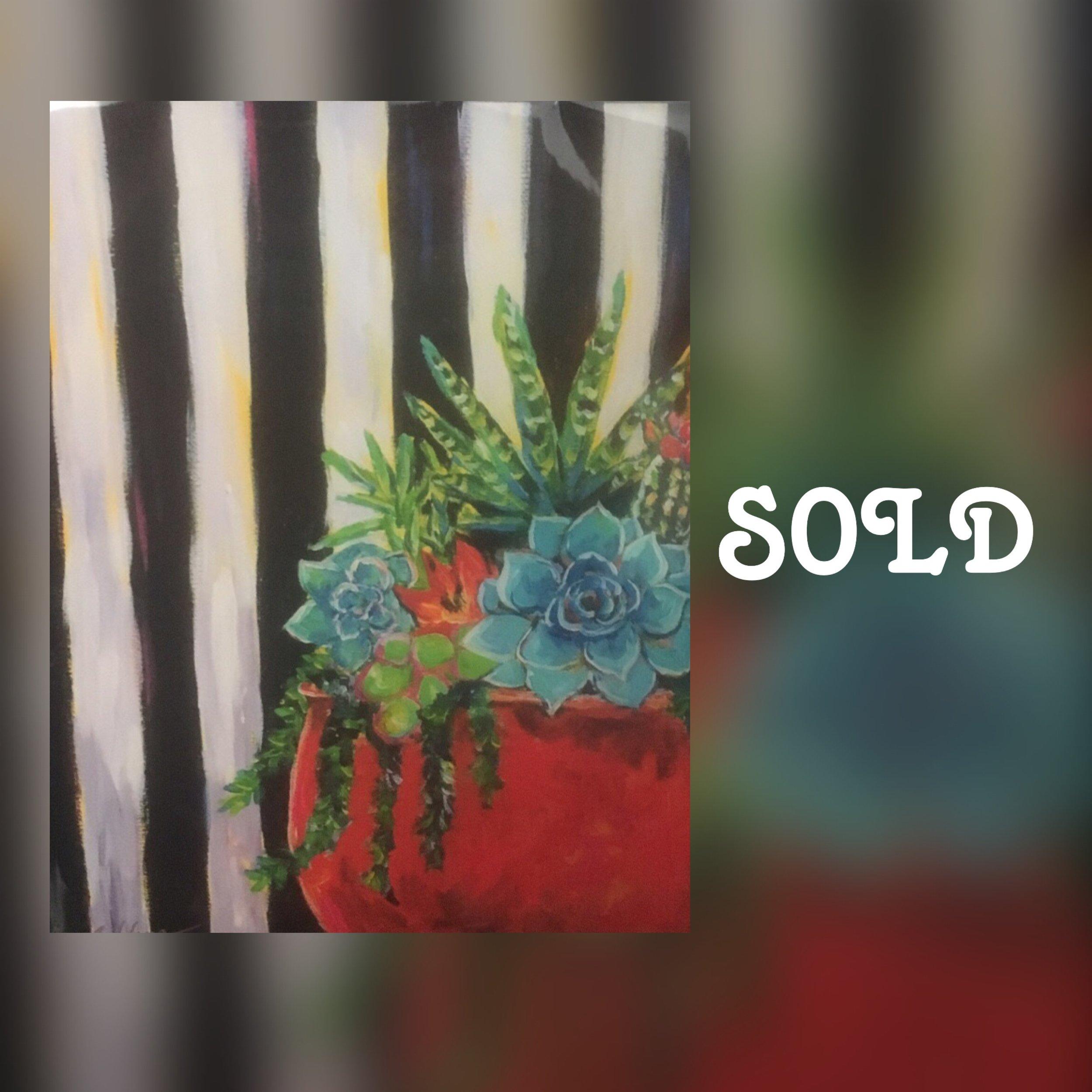 "Succulent Stripes, 11""x 14"", print, SOLD"