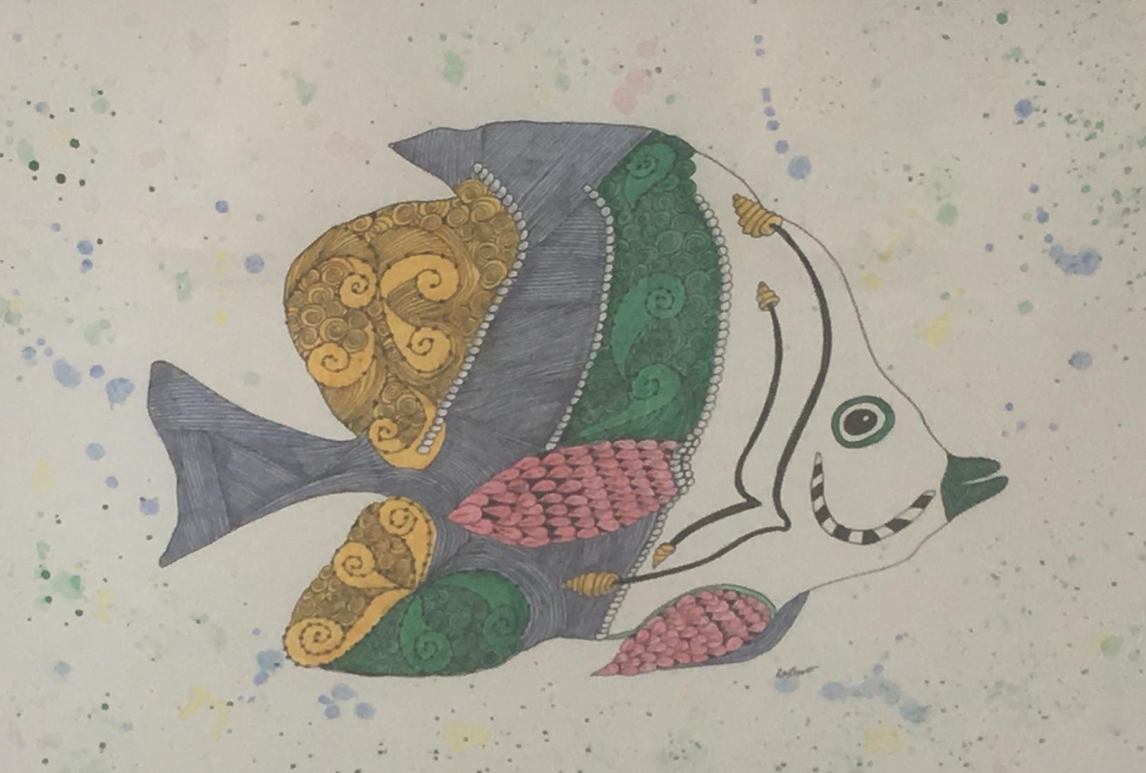 Happy Fish, 14.5 x 18, Watercolor w/ Pen & Ink, $295