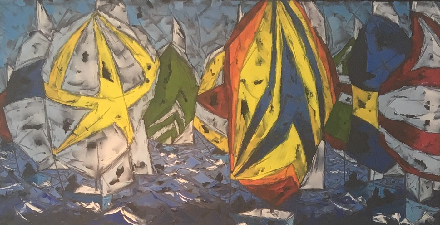 "Spinnakers,, 16""x 30"", cold wax & oil w/ palette knife, $400"