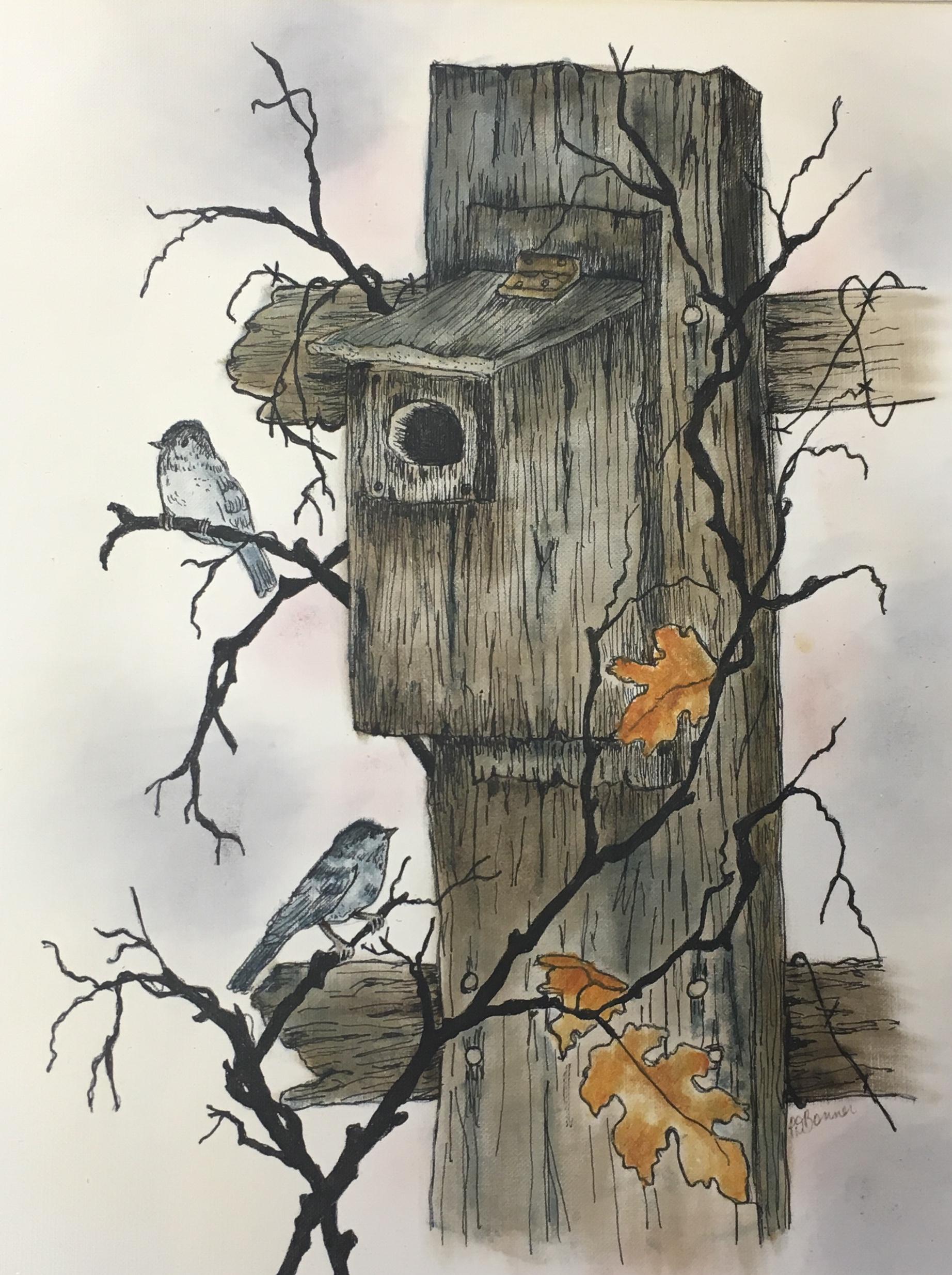 Birdhouse, 16 x 20, pen ink & oil, $250