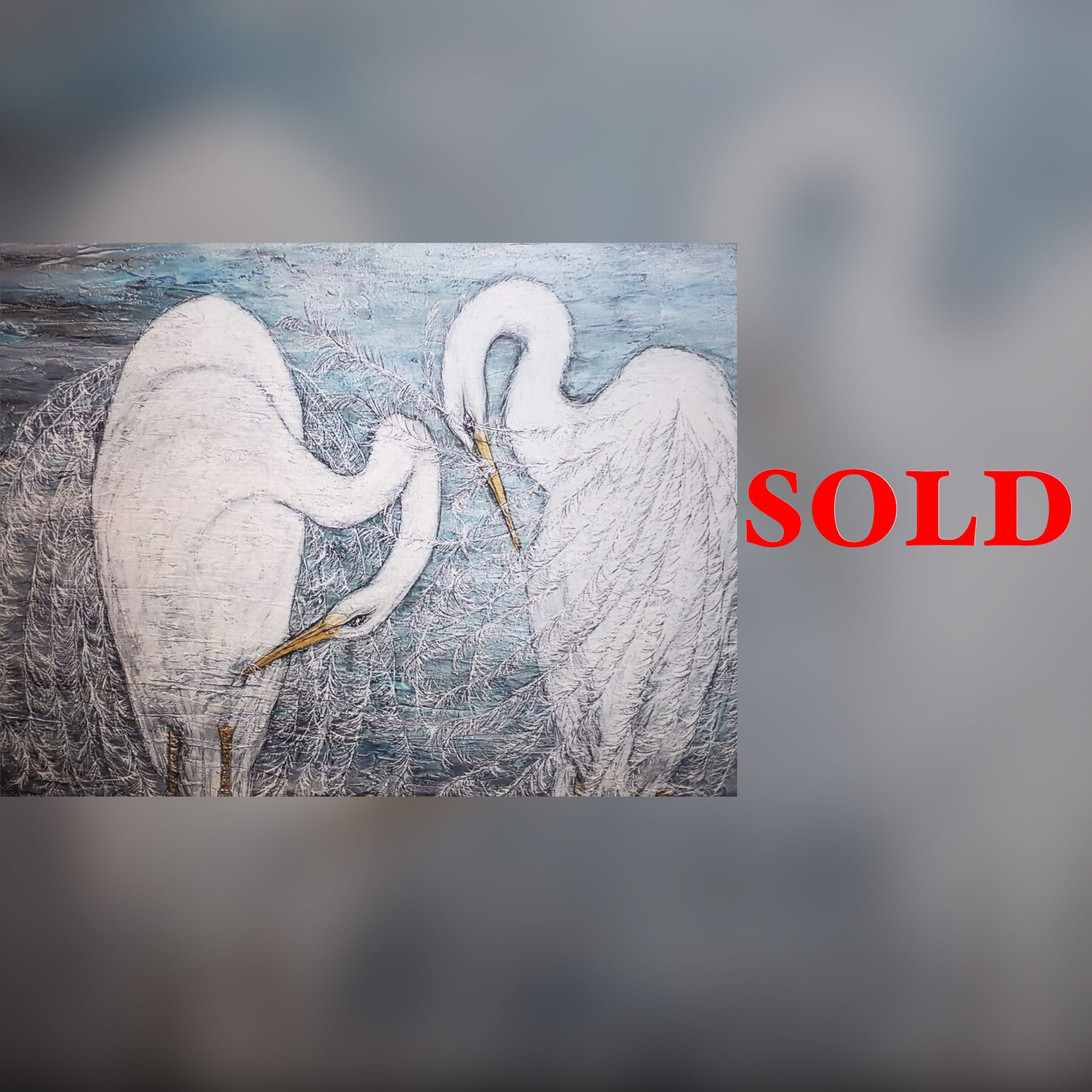 "Twin Birds, 40""x30"", second print, SOLD"