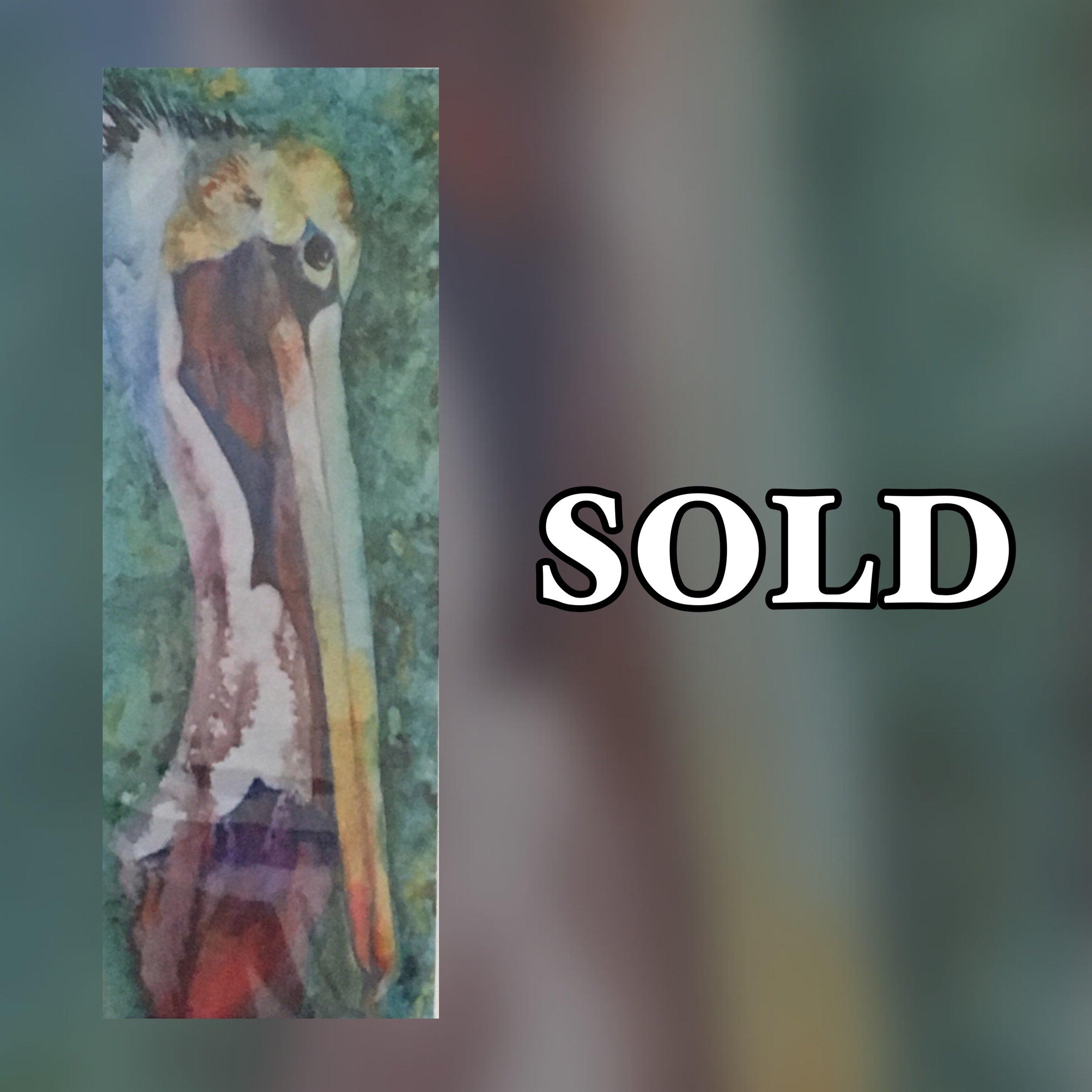 "Pelican Head, 11"" x 17"", Watercolor (Print), SOLD"