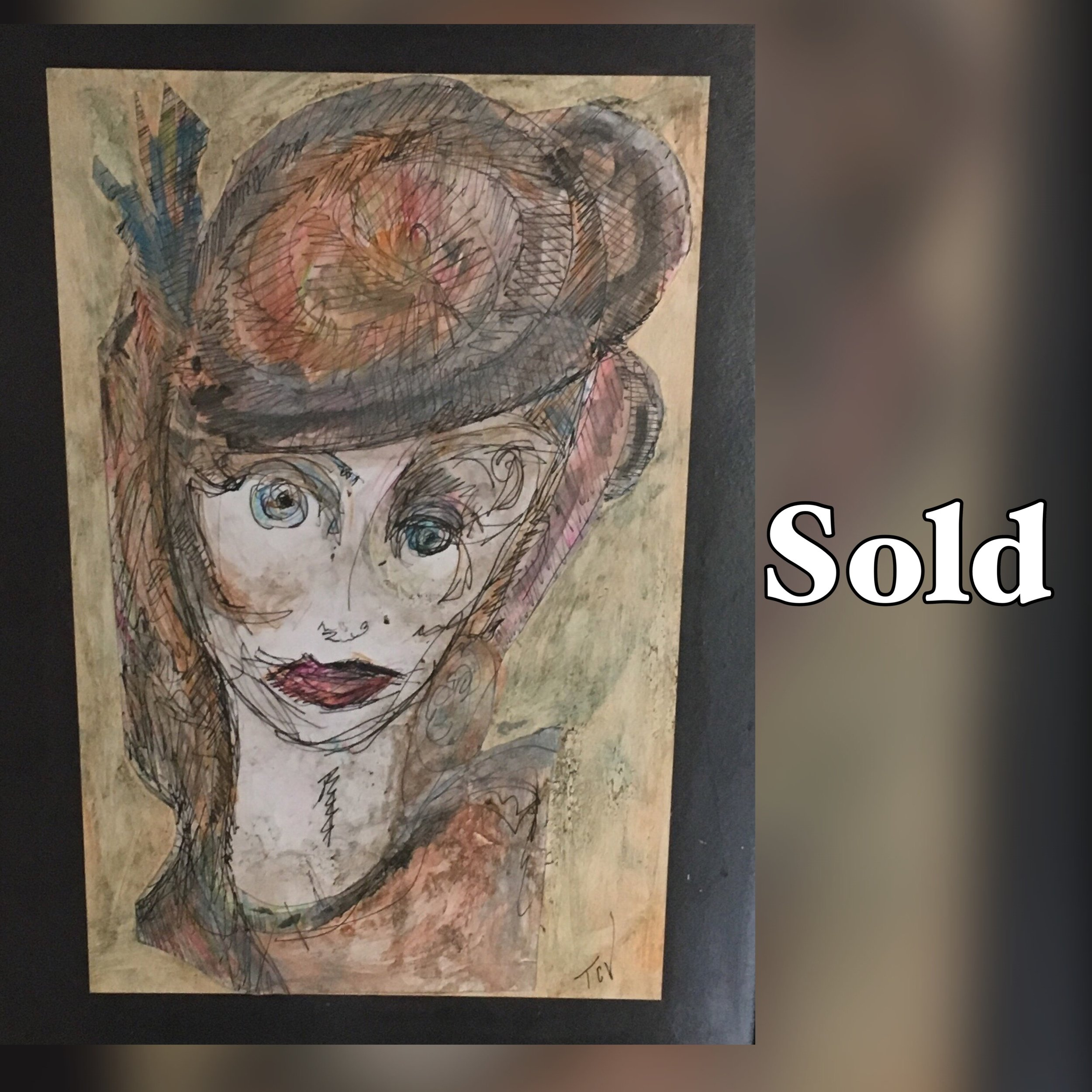 Madame Mad Hatter, 13.5 x 17.5, Mixed Media, SOLD