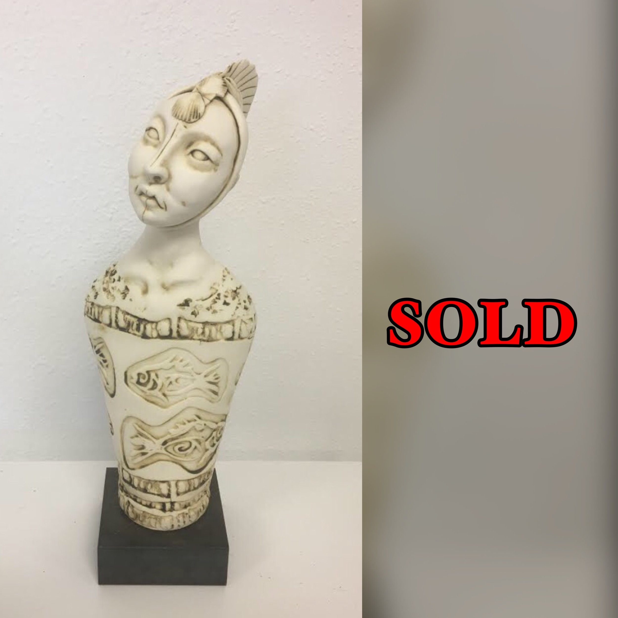 """Fins Muse, 16""""x 5 1/2""""x 4"""", Clay Sculpture, SOLD"""
