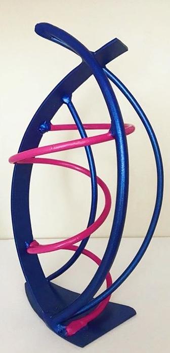 Tiny Dancer (Blue & Pink), steel, $150