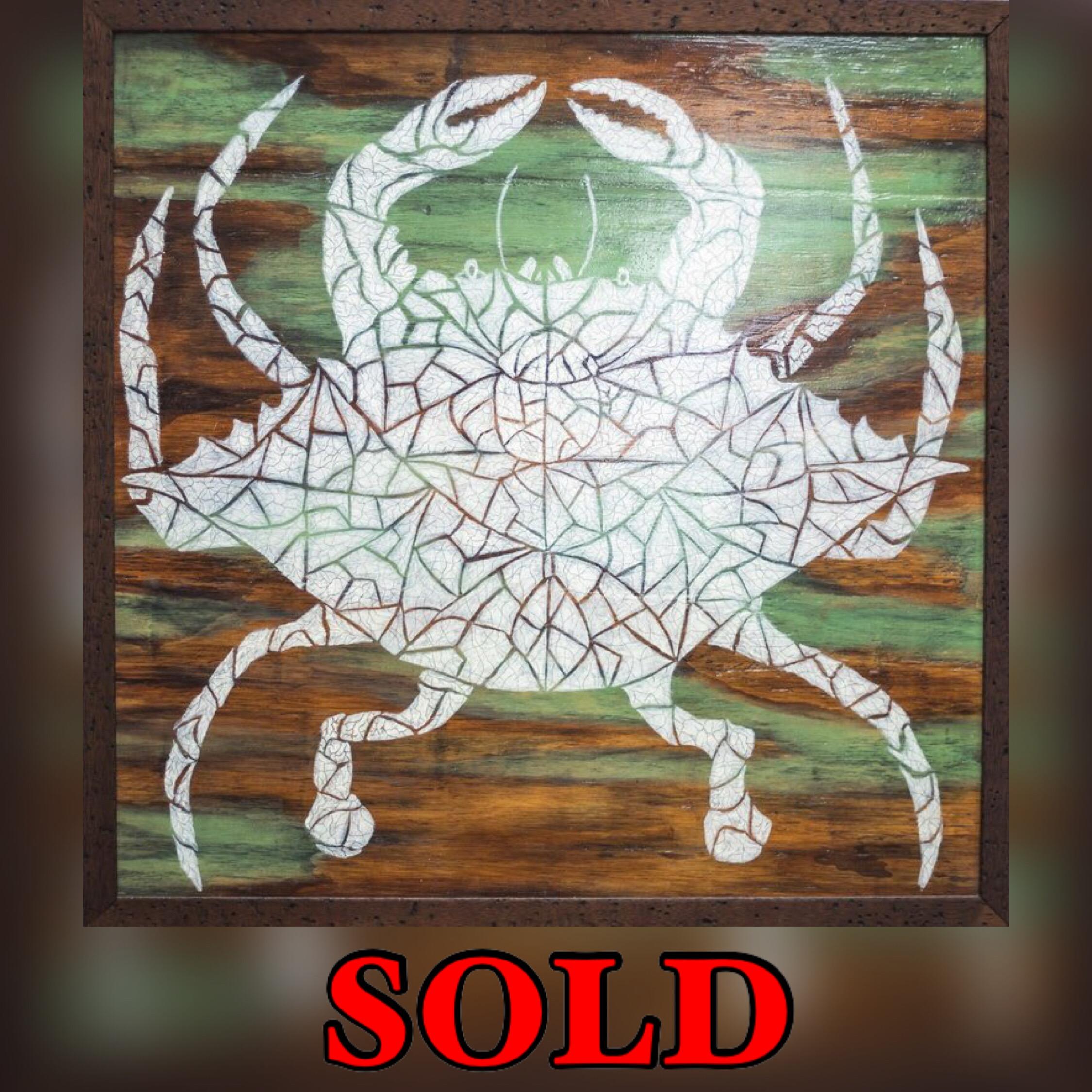 "Crab Mosaic, 25""x 25"", mixed media on wood, SOLD"