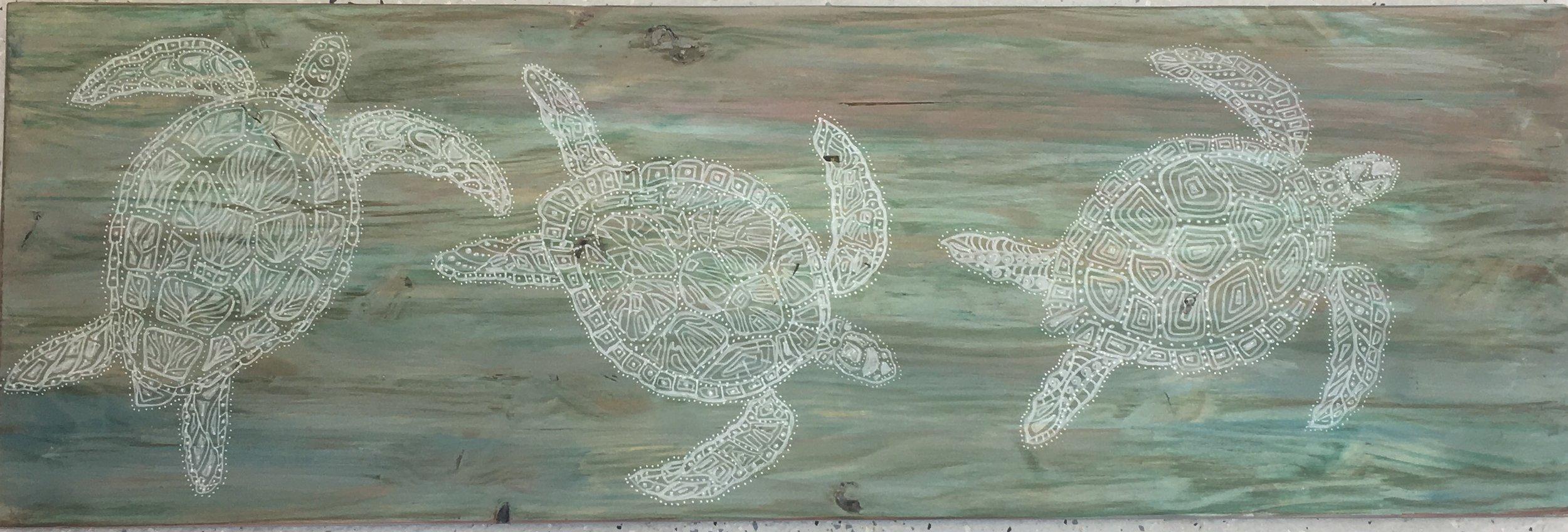"Stained Pine Turtle, 12""x 36"", Original Line Art, $250"