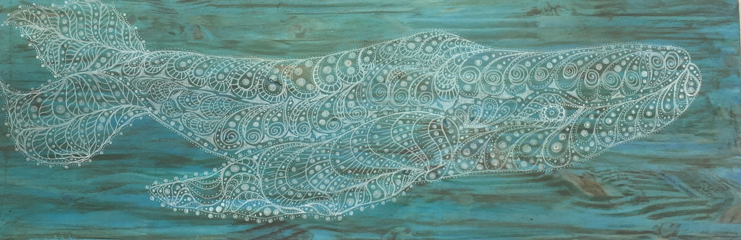 """Stained Pine Humpback Whale, 12""""x 36"""", Original Line Art, $250"""