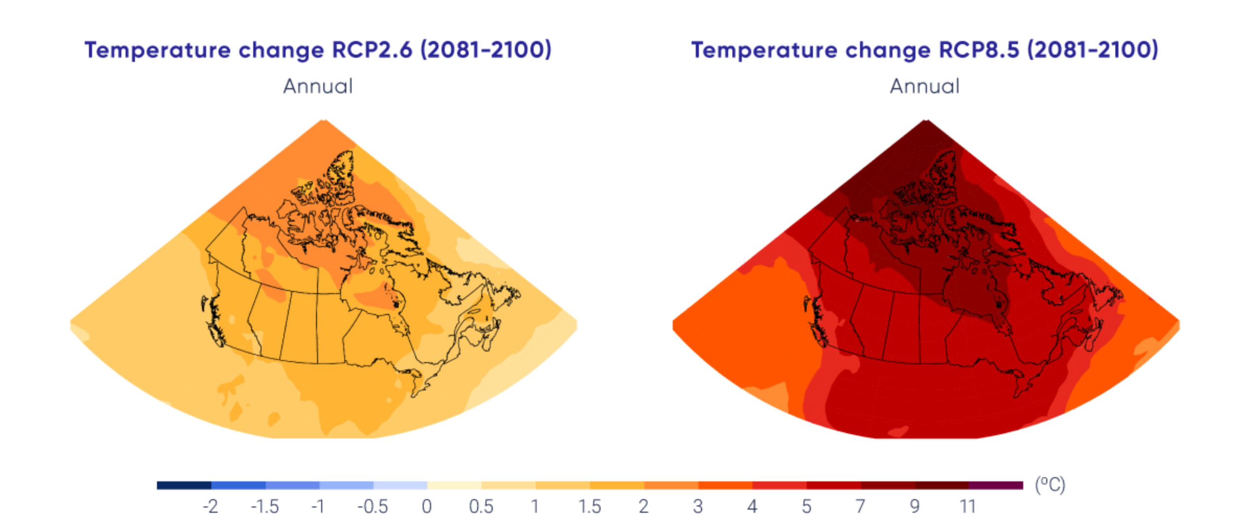 Canada's Climate Change Report 2019: Projected annual temperature changes, low-emission scenario (left), high-emission scenario (right).