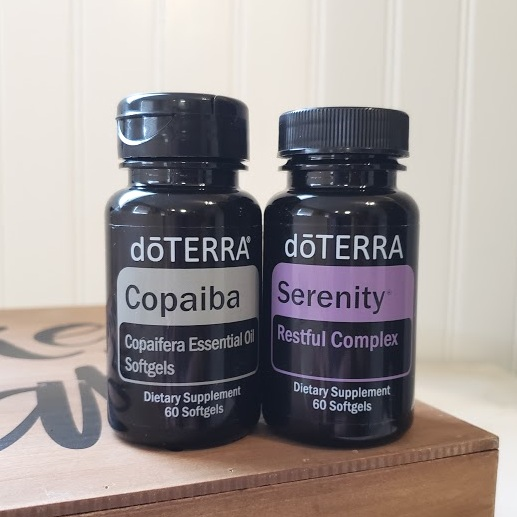 Copaiba   and    dōTERRA    Serenity™ Restful Complex Softgels   - One each of these supports a deep, restful sleep for bedtime or an atmosphere of chill for your day.