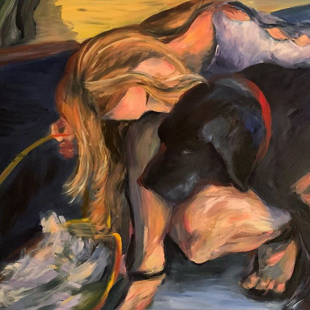 In celebration of discovering this week  that my art will be featured in three different magazines, here is my first oil painting ever!  #oilpainting #dogsofinstagram #emergingartist #artoftheday #womenartists #figureart #dogpainting #labradorretriever #labsofinsta #sanfranciscoartist #bayareaartist