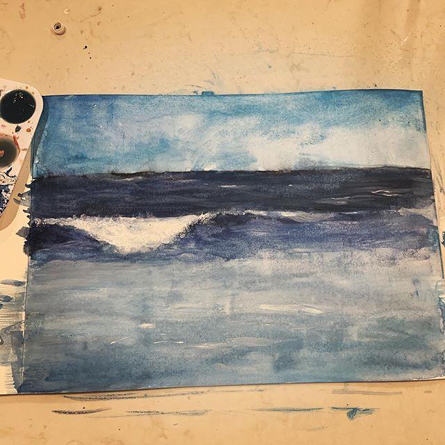 Experimenting with watercolor .... not easy #watercolorwaves #watercolors #beachpainting #emergingartist #oceartsy