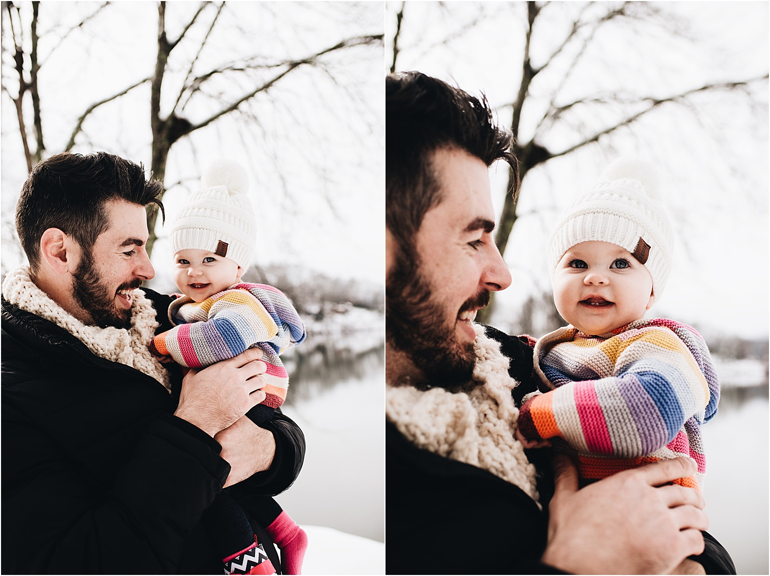 Lifestyle family photos in the snow