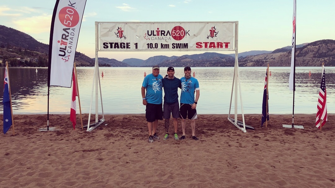 My support team and I at the start of the 10km swim. (Father-in-law Ron on left and good mate Tim on right)