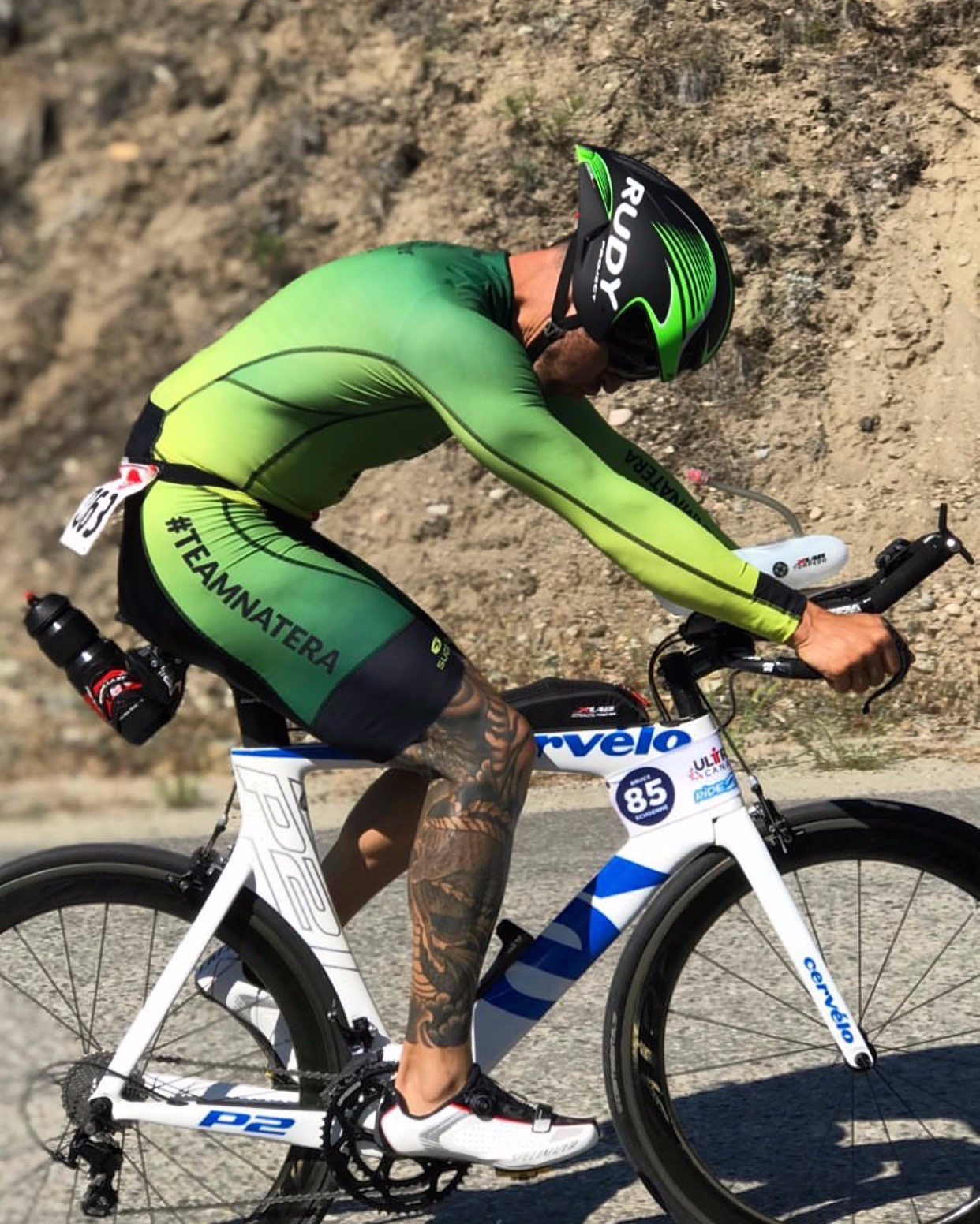 """Head down, digging deep and dialled in while climbing a portion of the stage two course called """"the wall""""."""