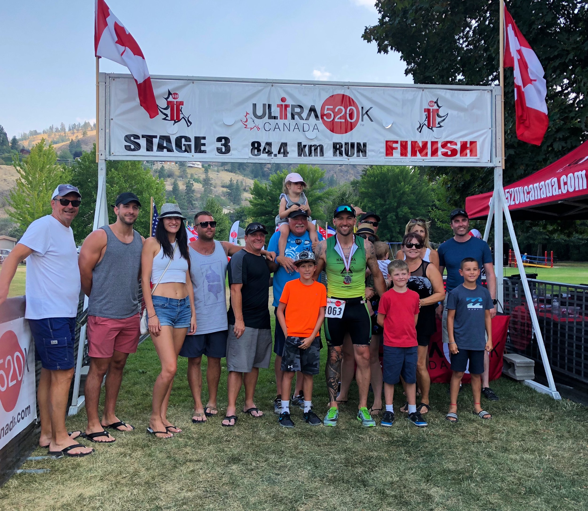 Finish line of stage 3 with my family, friends, support crew and sponsors from Natera Sport.
