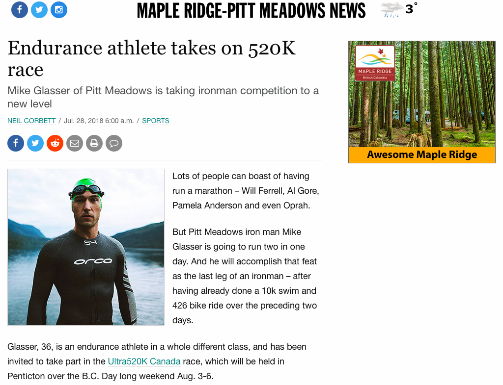 Michael as seen in the Maple Ridge newspaper prior to Ultra520k Canada this past summer.