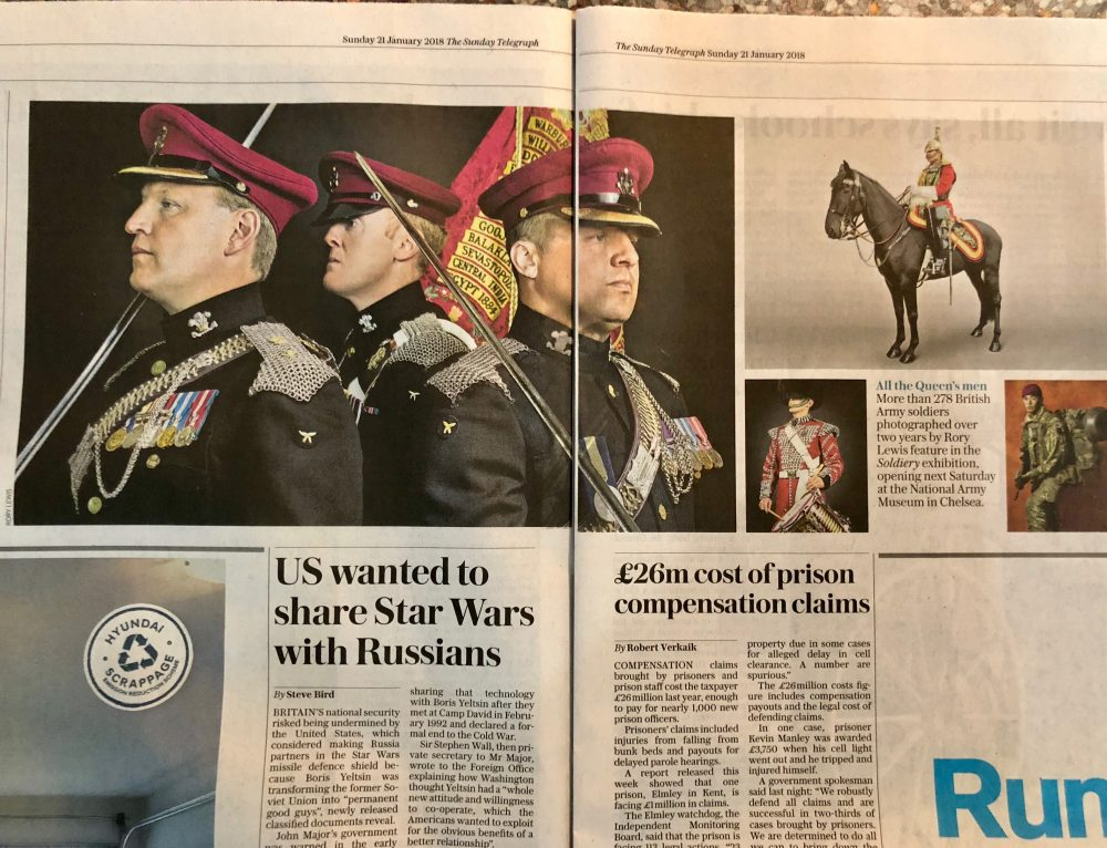 Soldiery British Army Portraits The Sunday Telegraph Sunday 21st January 2018