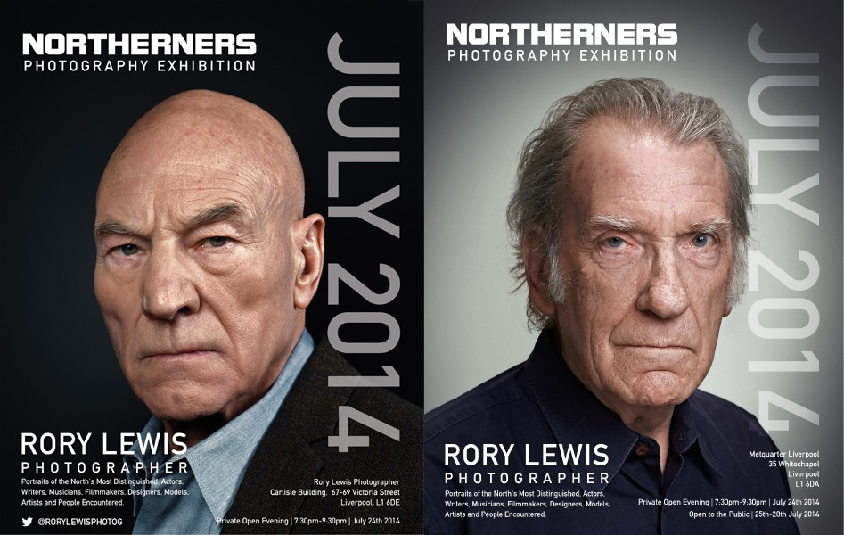 Northerners Exhibition Poster (Sir Patrick Stewart, David Warner.) Rory Lewis Photographer 2014.