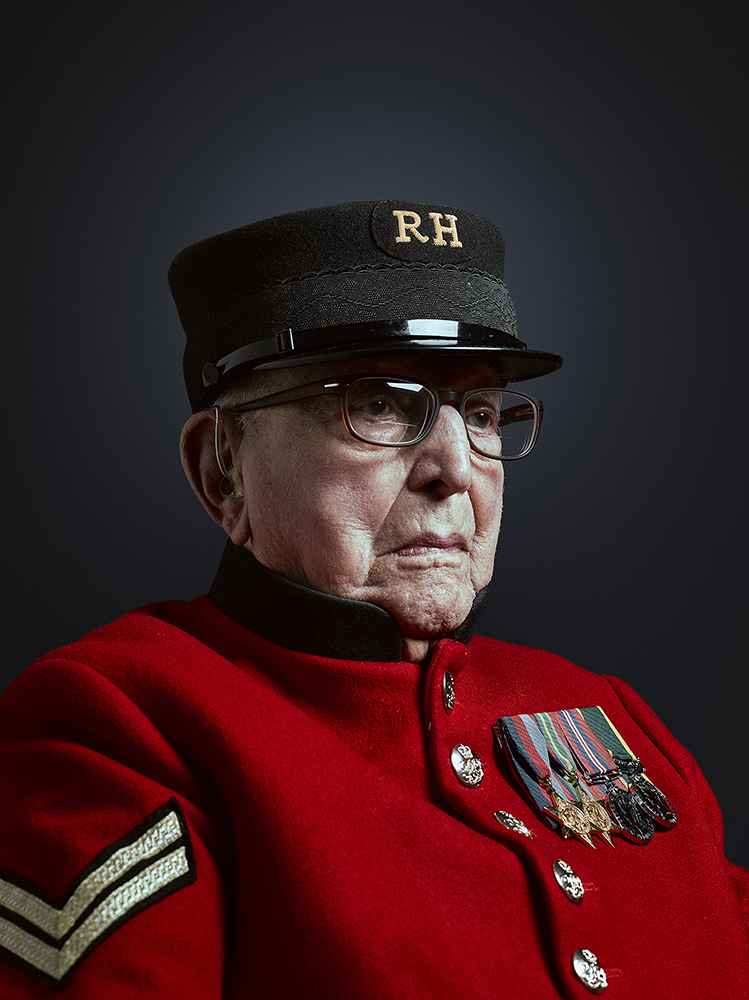 Chelsea Pensioner Dougie Hassall Portrait Commission Rory Lewis Charity, Association Portrait Photographer London.
