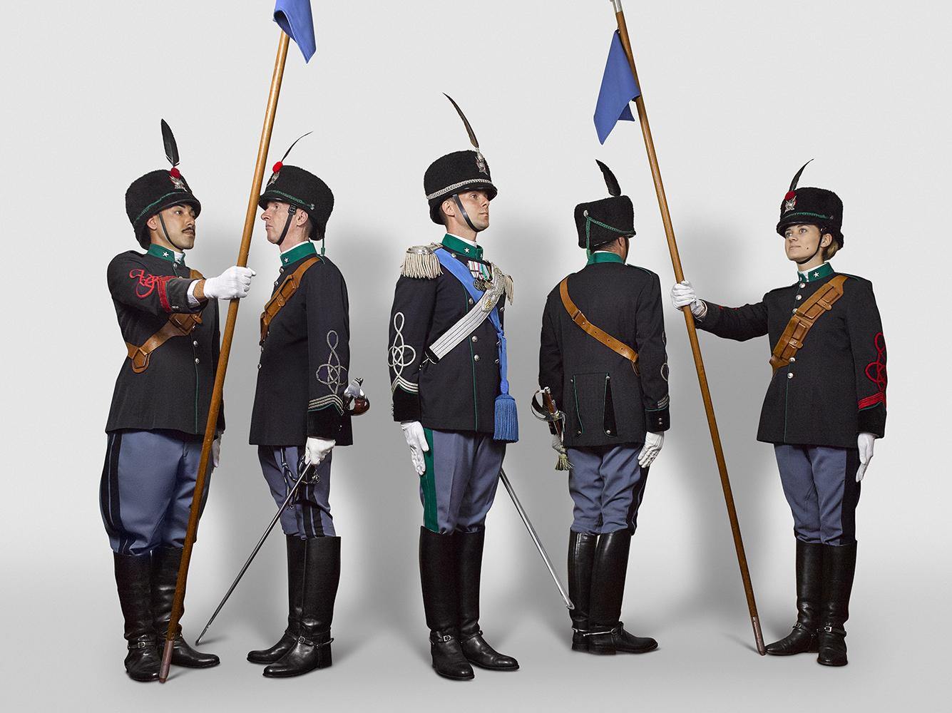 Starting from left: 1^ Caporal Maggiore, Maresciallo Capo, Tenente, Maresciallo Capo, Lanciere (Rory Lewis Photographer) Rome 2018