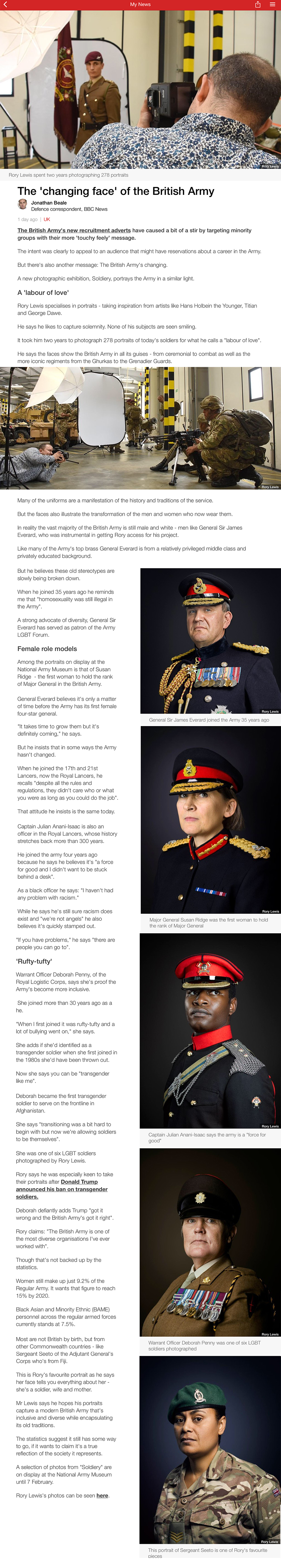 BBC News Interview (The 'changing face' of the British Army) 3rd February 2018 Rory Lewis Photographer