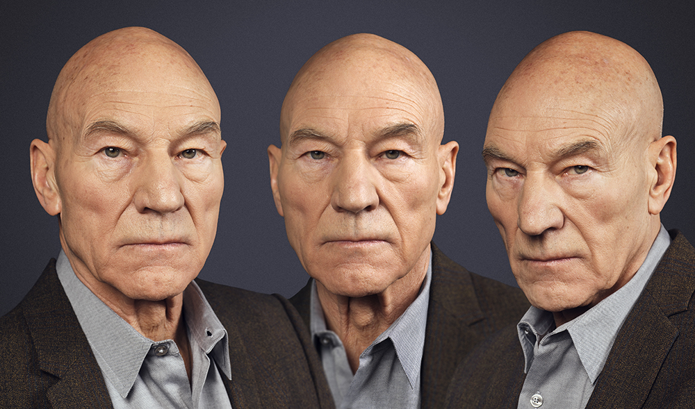 Sir Patrick Stewart in Three Positions (Rory Lewis Photographer 2018)