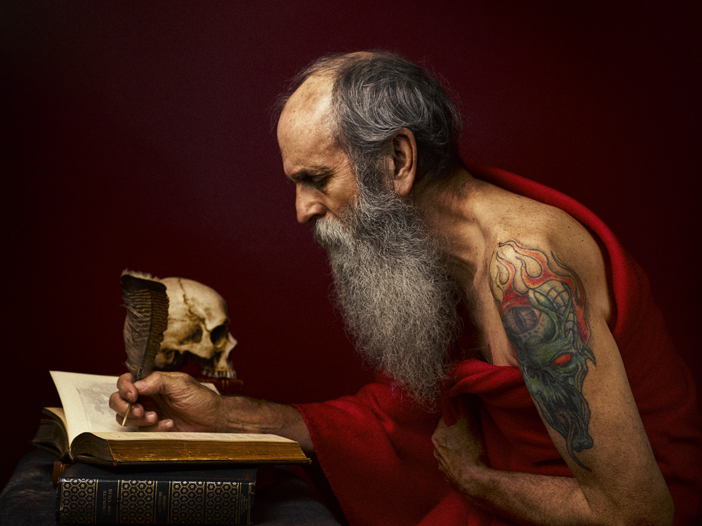 Recreating Caravaggio Saint Jerome (Rory Lewis Los Angeles/London Portrait Photographer 2019)