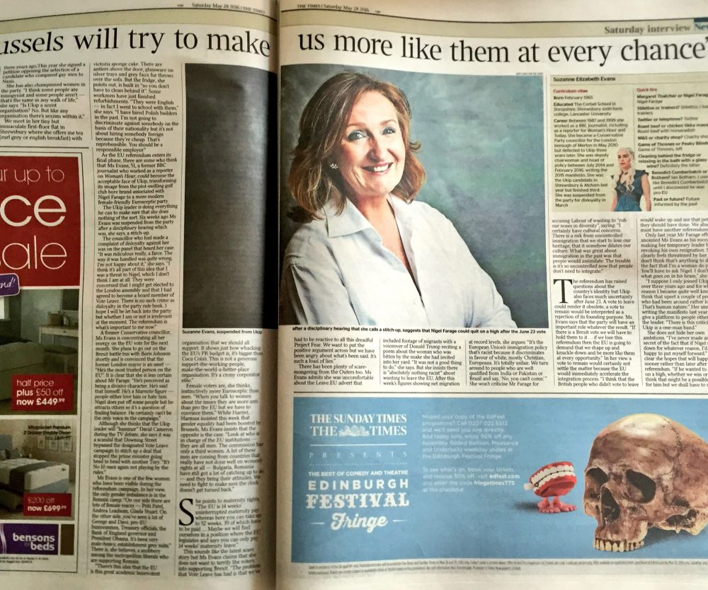 Suzanne Evans, UKIP Brexit Portrait Rory Lewis Photographer (The Times London)